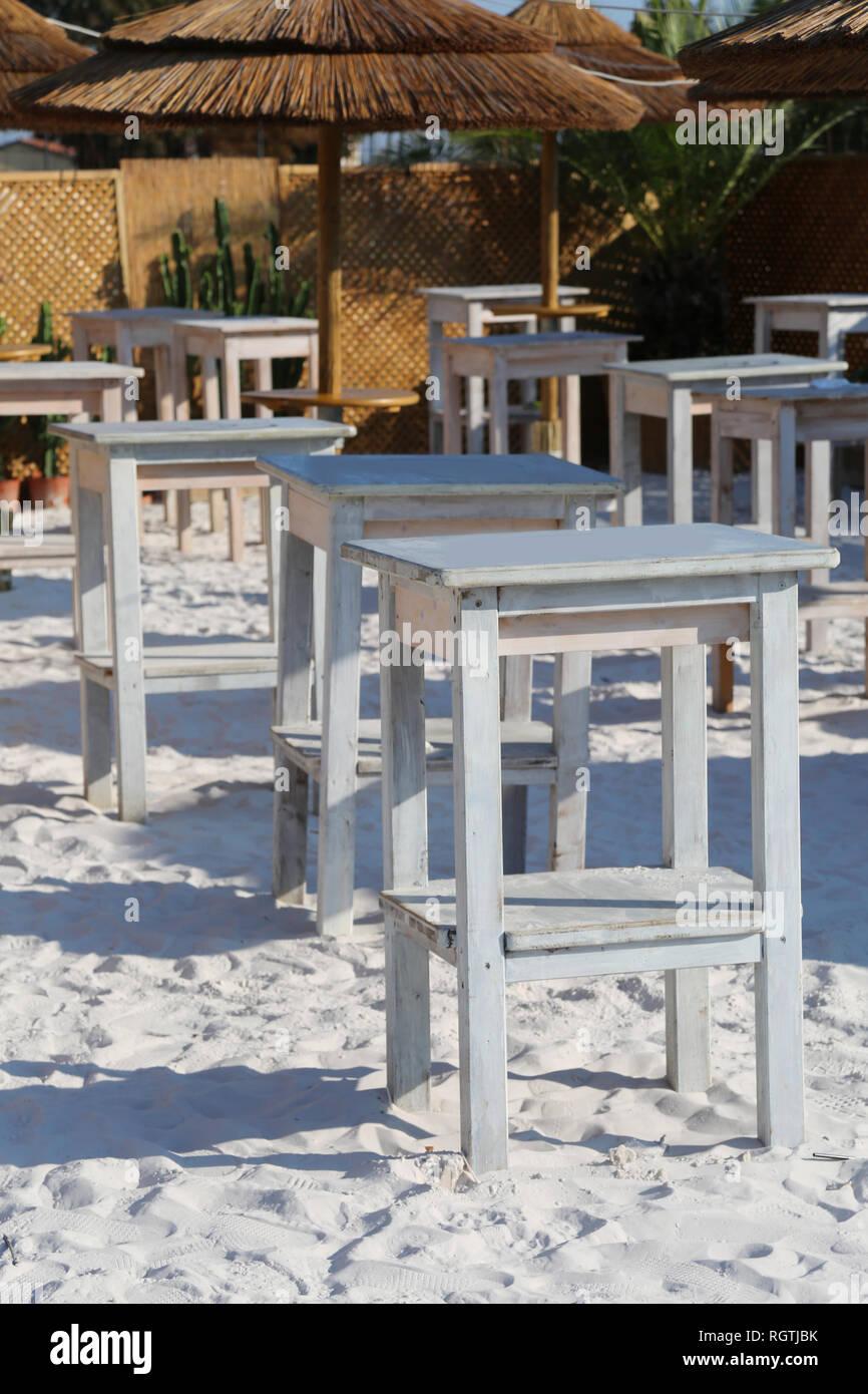 Kleine Tische Und Sessel Von Der Strandbar Strand Ohne