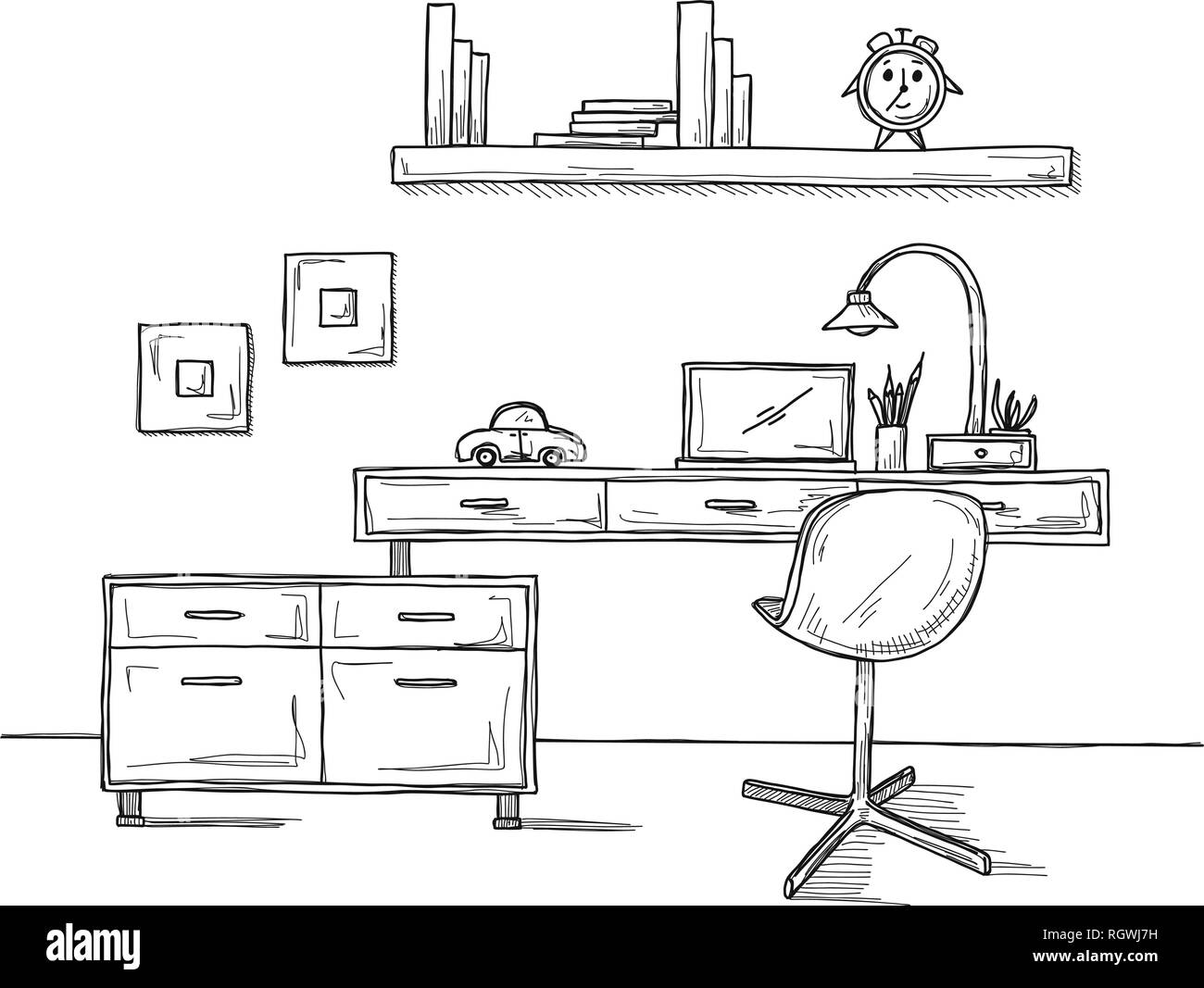 Bürostuhl skizze  Die Zimmer Skizze. Bürostuhl, Schreibtisch, verschiedene Objekte auf ...