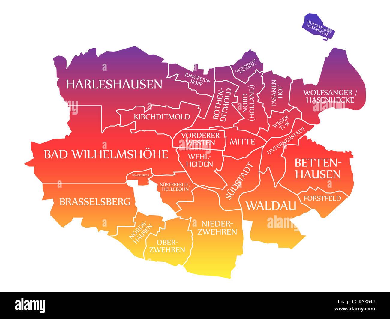 Kassel City Karte Deutschland De Beschriftet Rainbow Farbige