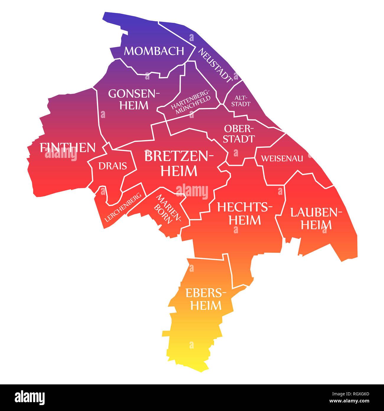 mainz karte deutschland Mainz City Karte Deutschland DE beschriftet Rainbow farbige