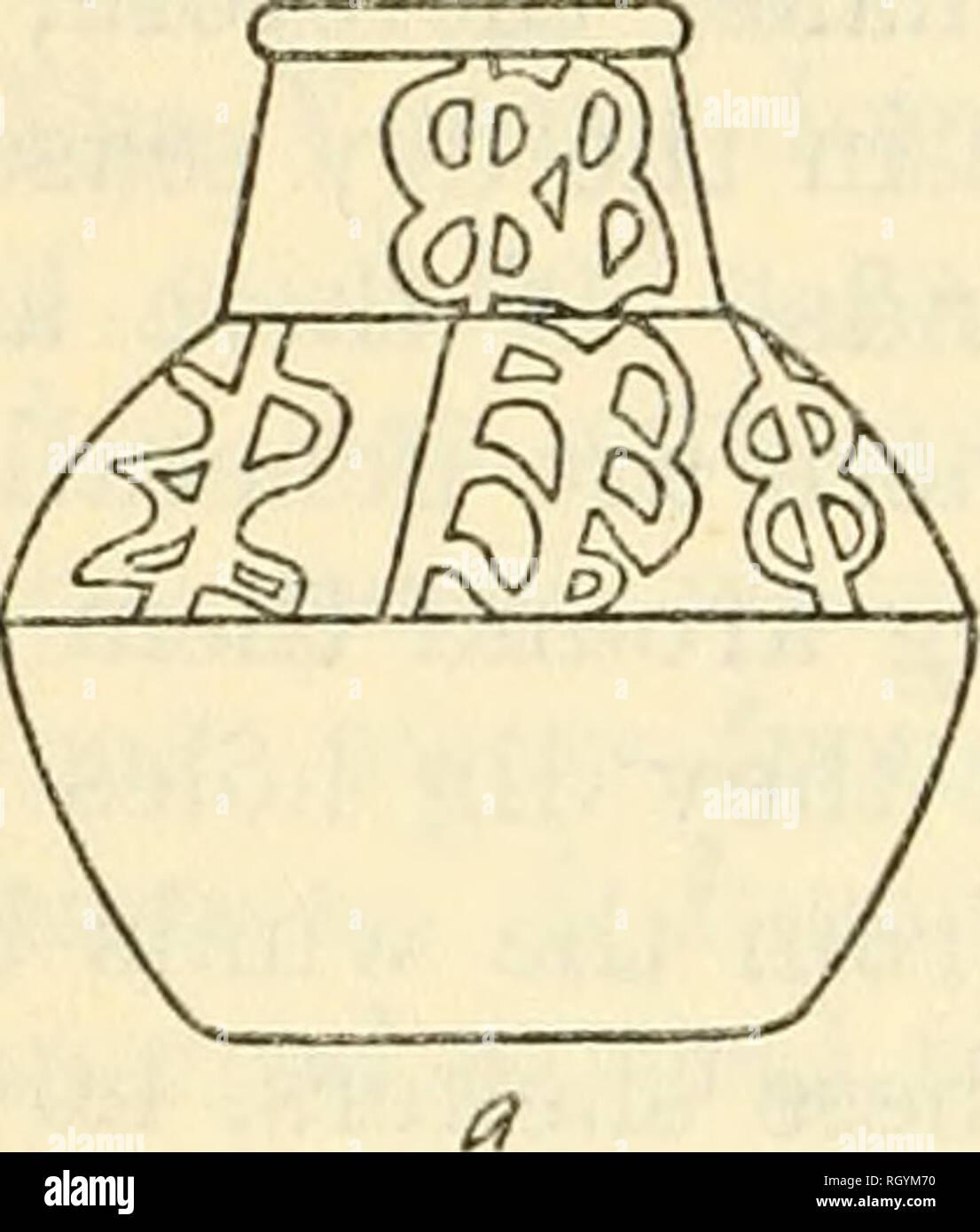 """. Bulletin. Ethnologie. 212 BÜRO DER AMERIKANISCHEN ETHNOLOGIE [Bdll. 123 der gleiche Ton liefert die Rote und gelbe Ocker für Gesichts Malerei verwendet. Der Ton ist gehärtet, mit der Rinde des Mecla Baum namens """"Toiin"""" in Yaruro. Diese Rinde ist verbrannt zu einem aschegehalt und die Asche wird geknetet, in den Ton, der gut angefeuchtet wurde. Rollen dieser Ton werden dann gemacht, gerollter und setzte man auf eine andere. Sie werden dann abgeflacht und von Hand oder^ Vith geglättet Hilfe ein Stück Schale, Wasser großzügig angewendet werden. Der Ton liegt auf einem Teller Keramik, die bei Bedarf gedreht wird. Nach Stockfoto"""