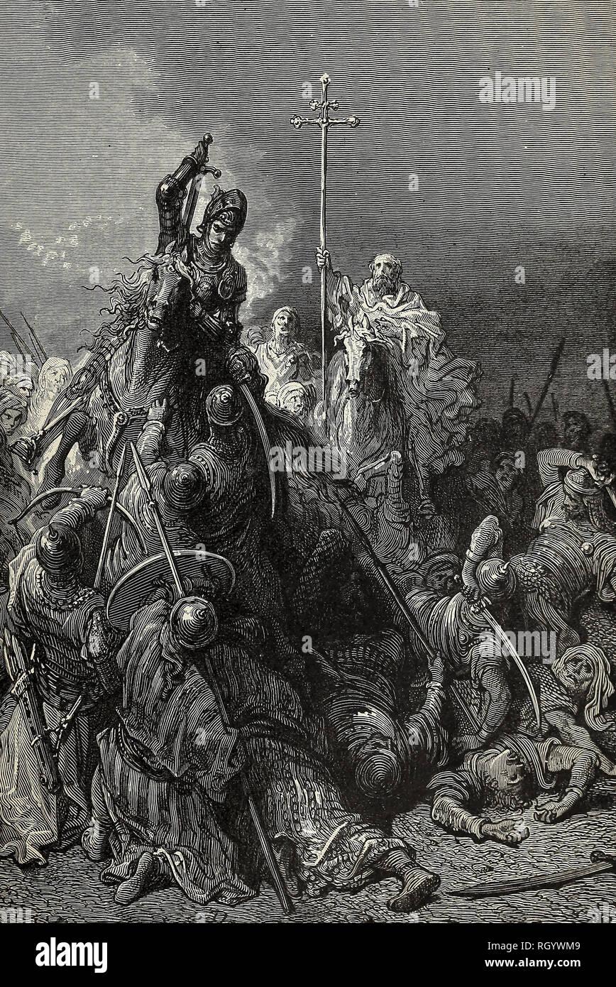 Hunyadi in Belgrad - der Krieger und der Mönch Capistran führen die Bauern gegen die Türken Stockbild