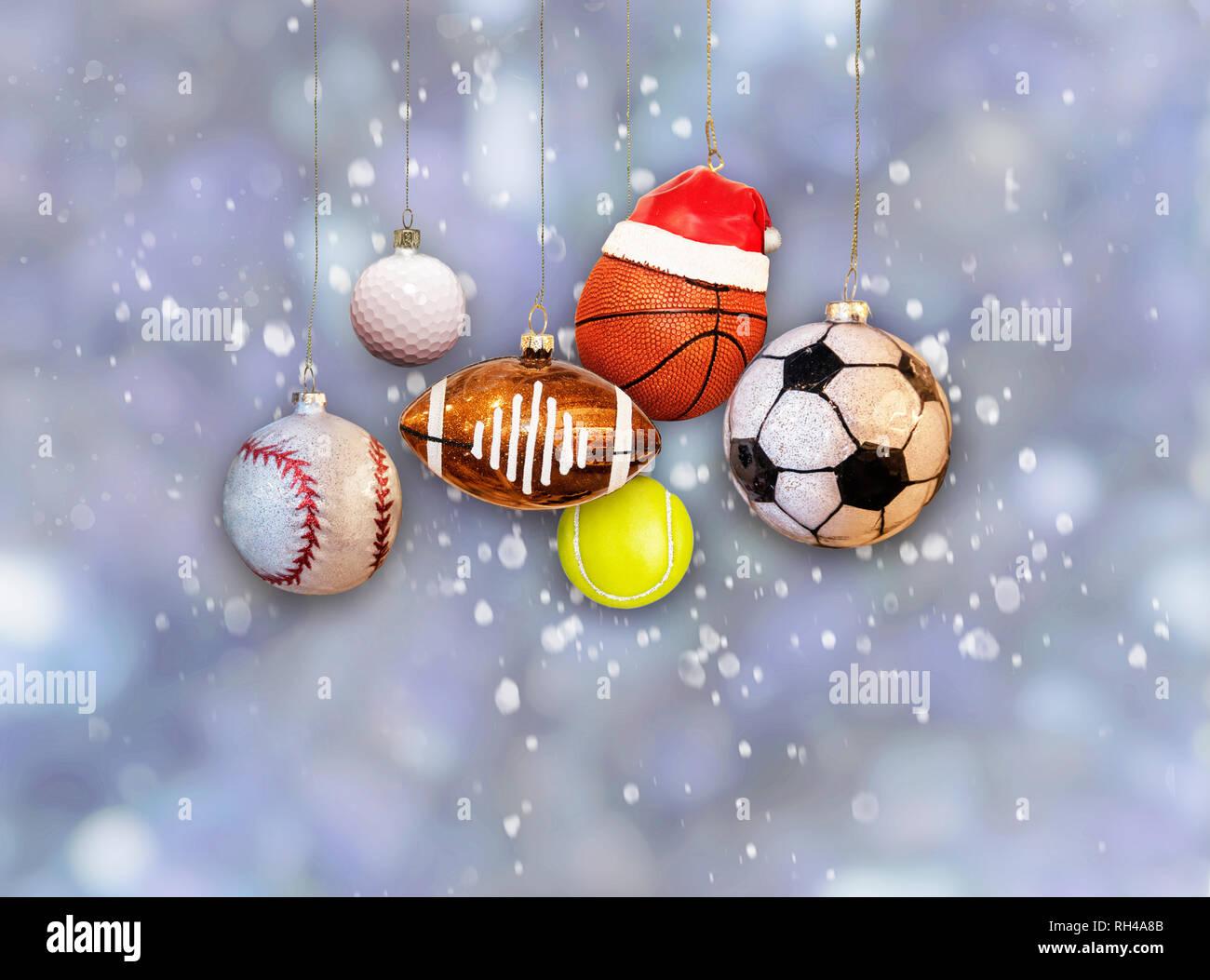 Weihnachten Sport Ornamente Baseball Football Basketball