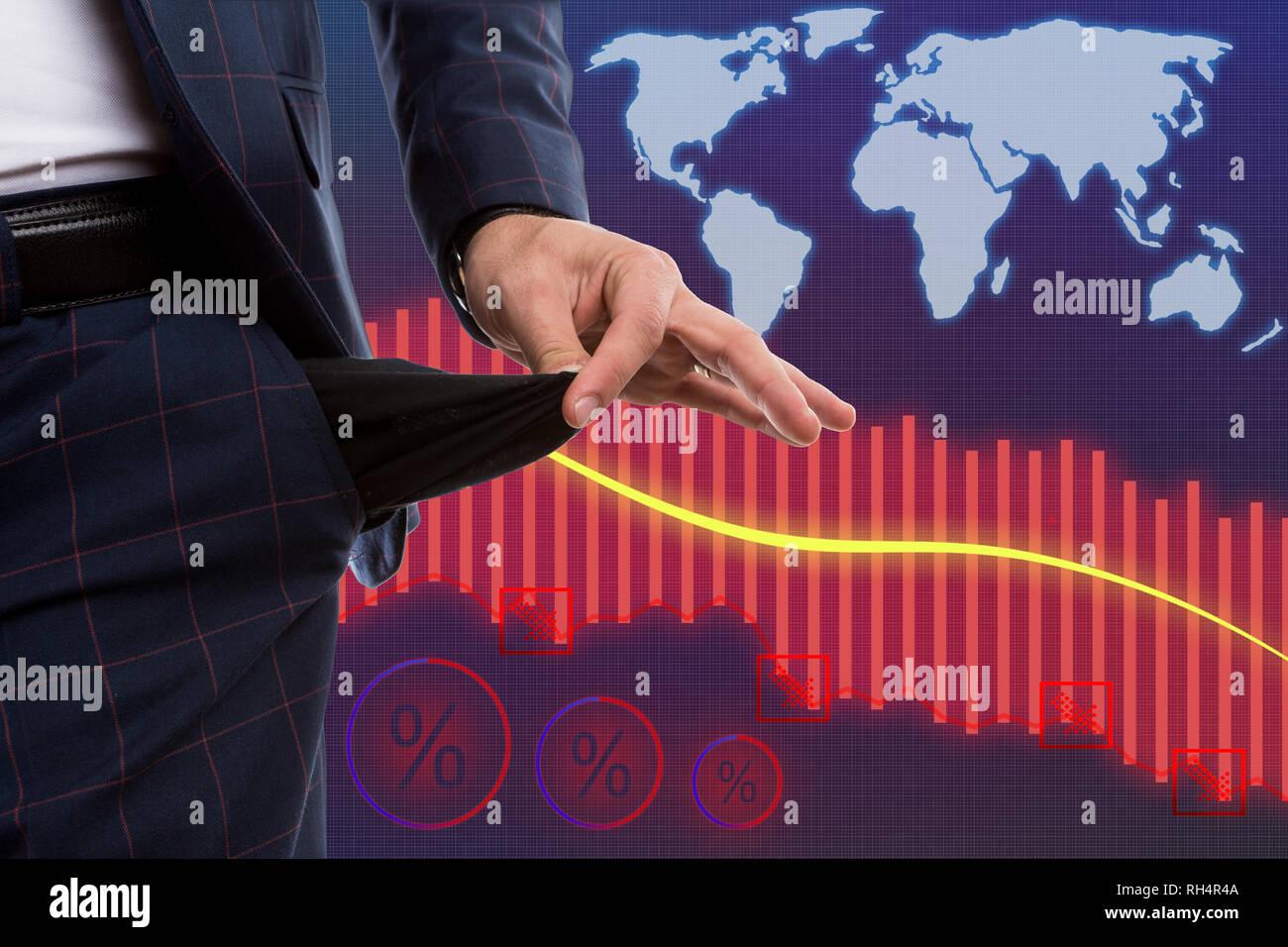 Konkurs Broker an der Börse präsentiert leere Hosen oder Hosen Tasche als Wirtschaftskrise Konzept mit der Grafik im Hintergrund Stockbild