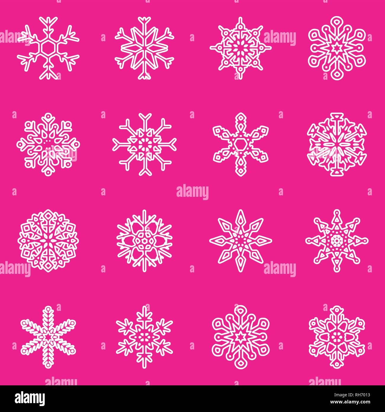 Wettervorhersage Für Weihnachten 2019.Schneeflocke Vektor Symbol Hintergrund Set Kunststoff Rosa Farbe