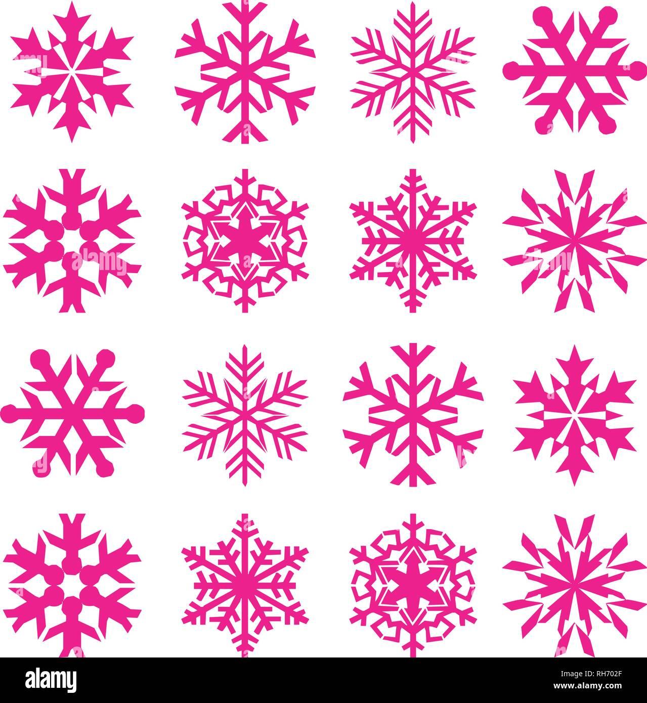 2019 Weiße Weihnachten.Schneeflocke Vektor Symbol Hintergrund Set Kunststoff Rosa Farbe