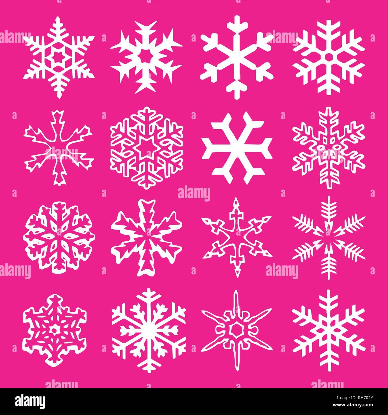 Trend 2019 Weihnachten.Schneeflocke Vektor Symbol Hintergrund Set Kunststoff Rosa Farbe