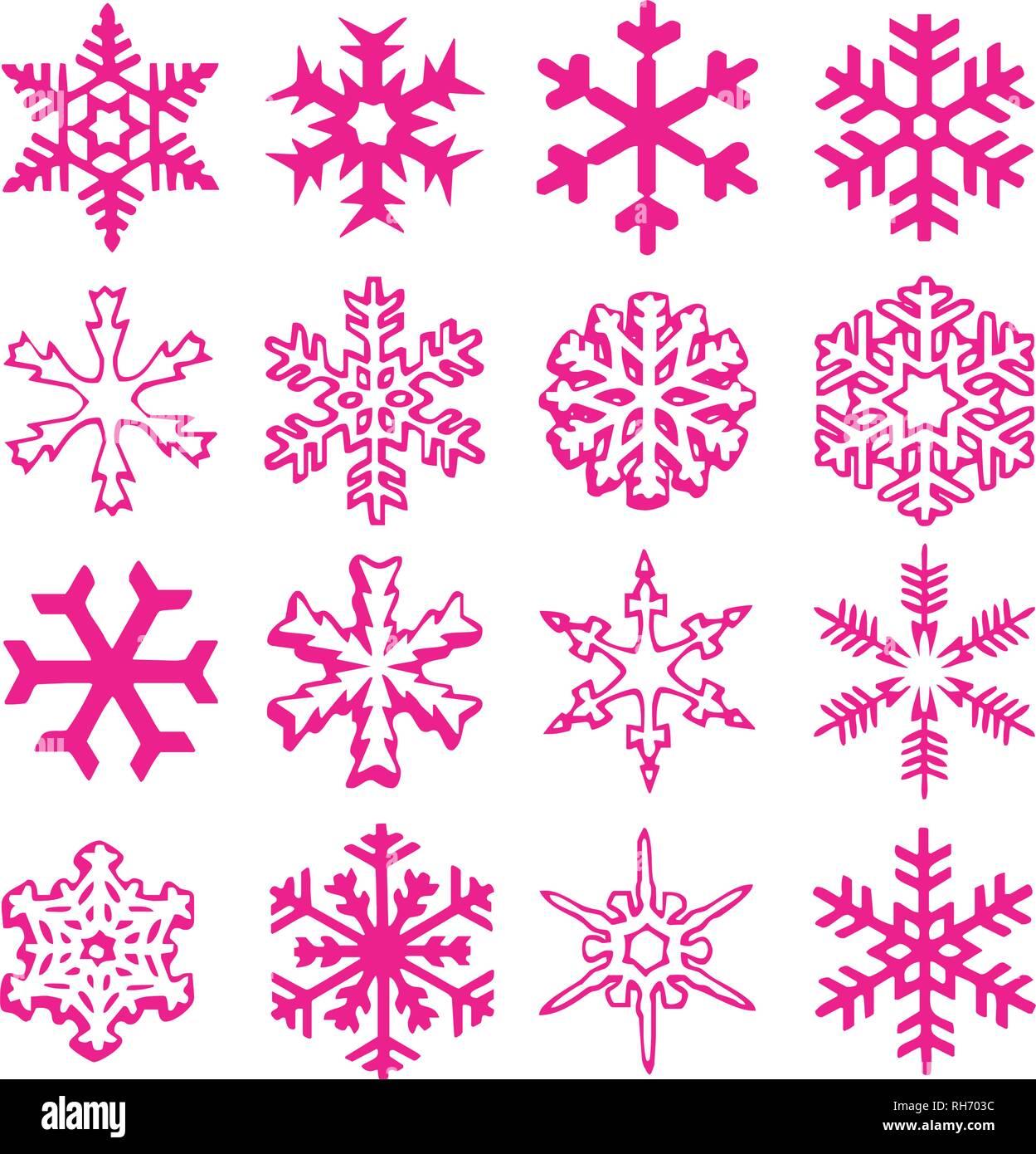 Das Wetter Zu Weihnachten 2019.Schneeflocke Vektor Symbol Hintergrund Set Kunststoff Rosa Farbe