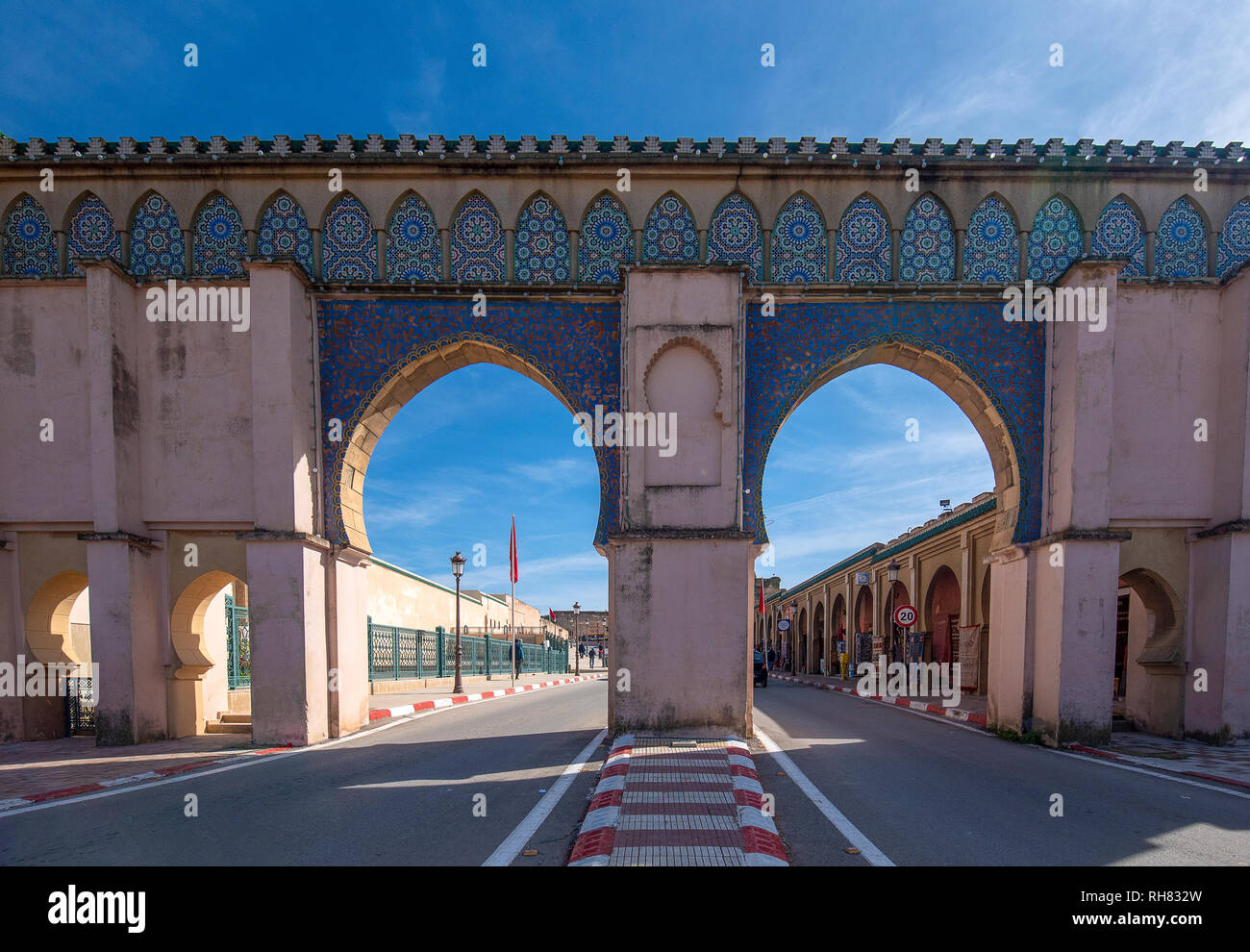 Bab Moulay Ismail vor der berühmten mausolem, Grab und Moschee in Meknes, Marokko Stockfoto