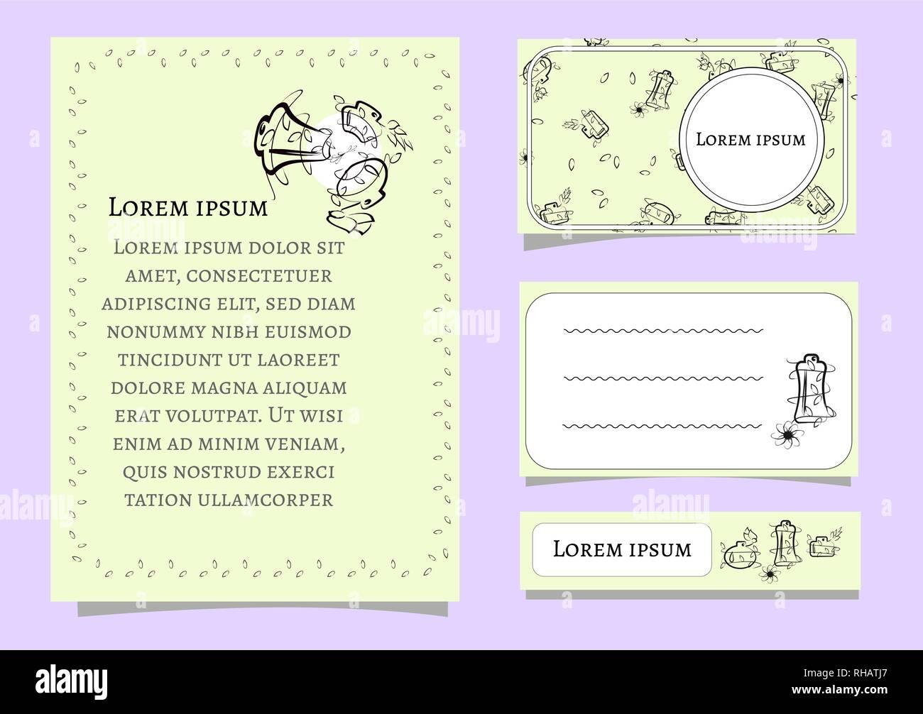 Set Vektor Der Karte Vorlagen Mit Floralen Elementen Für