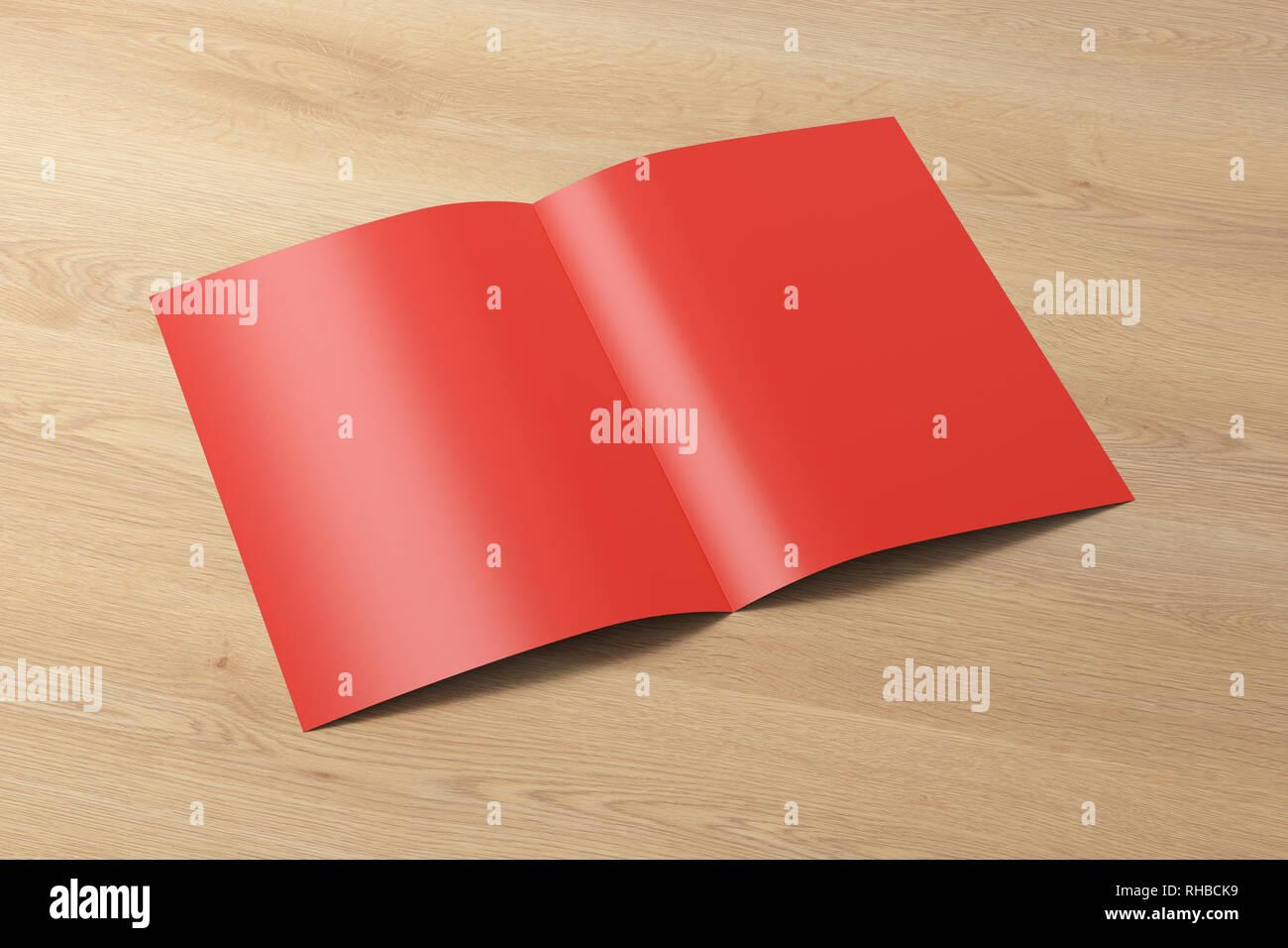 2b38e3d9d6b Leer rot halb gefaltet Flyer Broschüre über Holz- Hintergrund. Mit  Beschneidungspfad um Broschüre. 3D-Darstellung