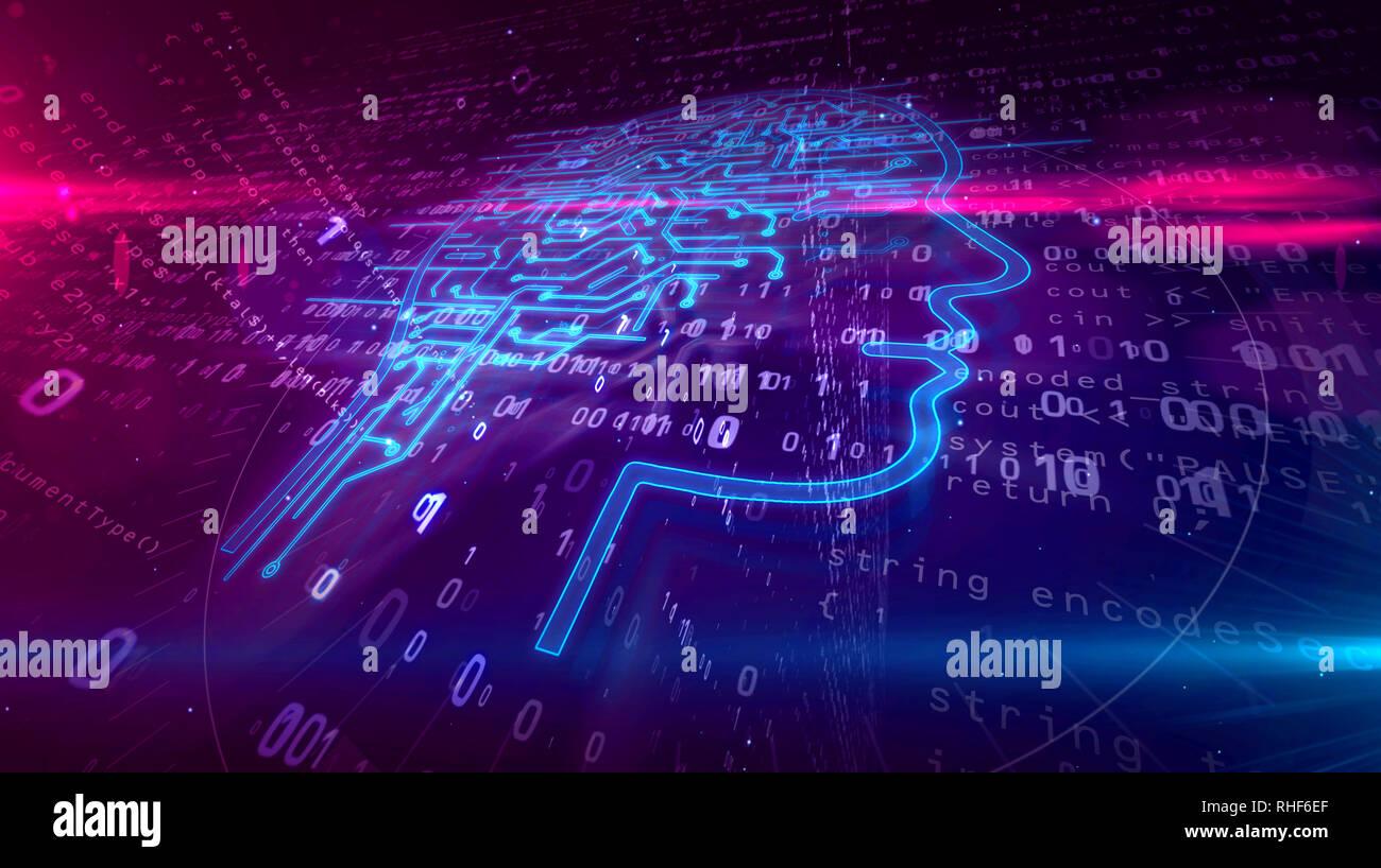 Künstliche Intelligenz Kopfform auf digitalen Hintergrund. AI und der Kybernetischen Gehirn abstrakte Konzept 3D-Abbildung. Stockfoto