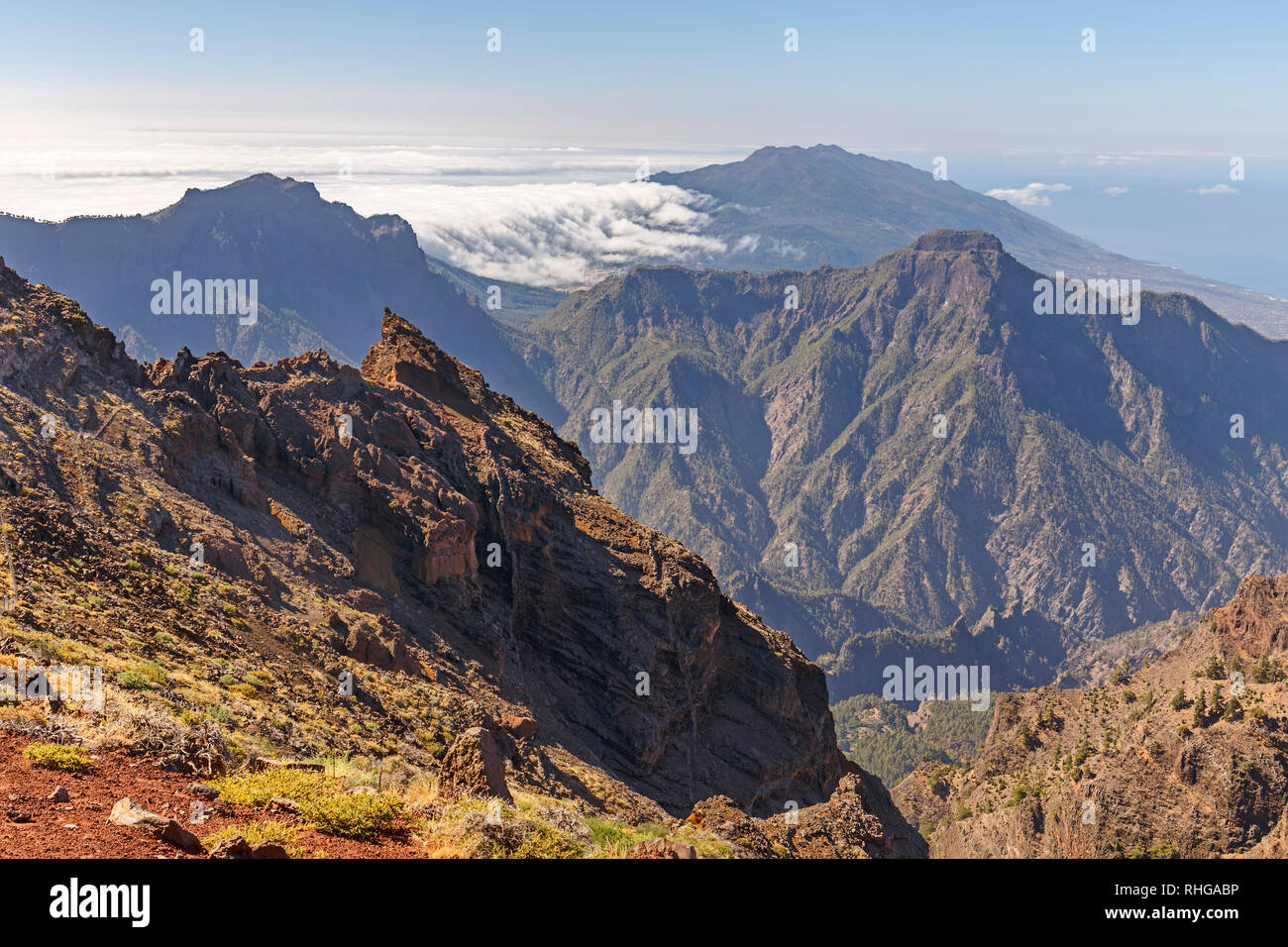 Caldera de Taburiente Natoional Park von Roque de Los Muchachos Sicht gesehen, La Palma, Kanarische Inseln Stockfoto