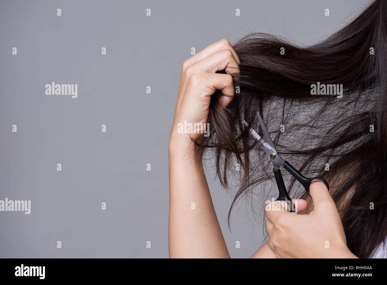 Gesundes Konzept Frau Hand Mit Schere Und Schnitt Ihr