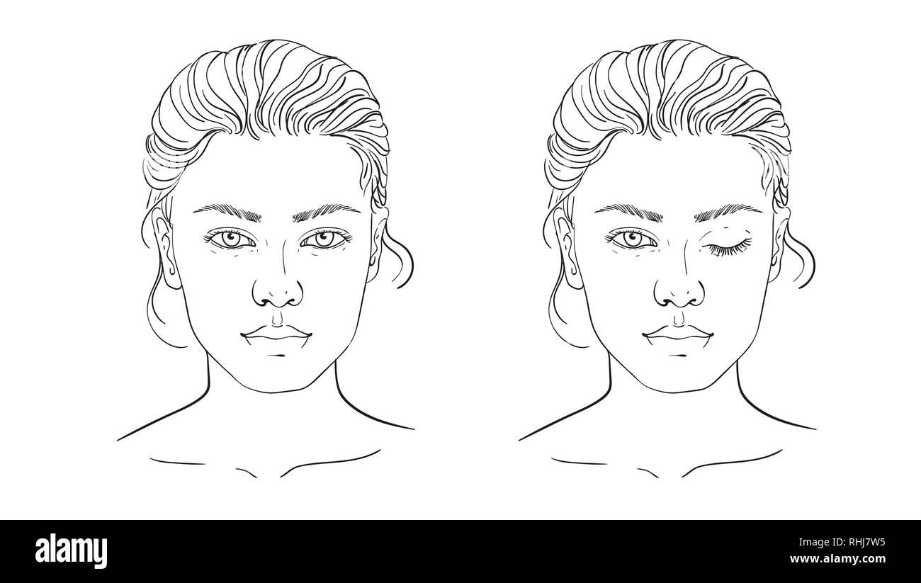 Gesicht Diagramm Make Up Kunstler Blank Vorlage 8 11