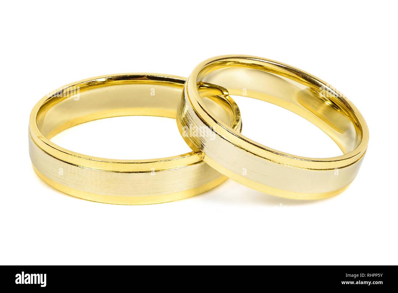Goldene Hochzeit Ringe Auf Weißem Hintergrund Mit