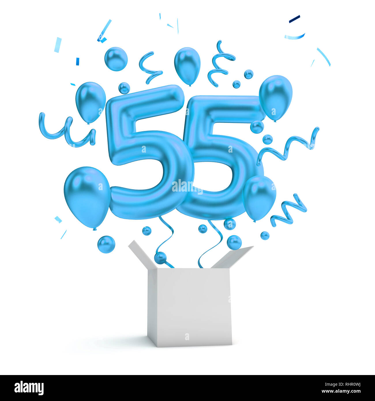 Happy 55th Birthday Blau Uberraschung Ballon Und Box 3D Rendering