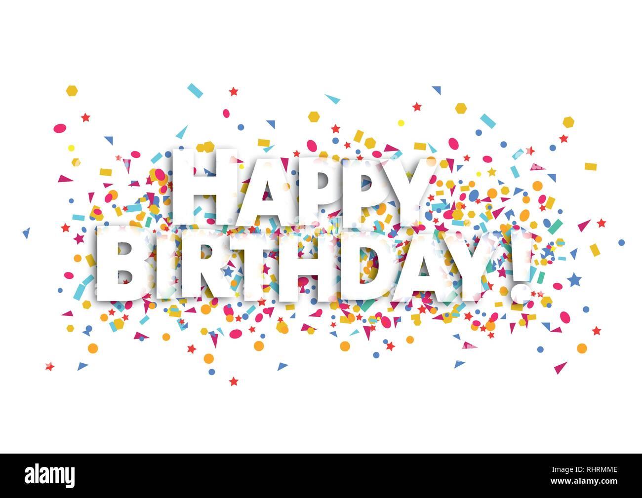 Happy Birthday Card Weissen Text Und Konfetti