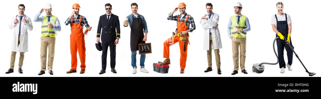 Collage von stattlicher Mann mit verschiedenen Berufsgruppen isoliert auf weißem Stockbild