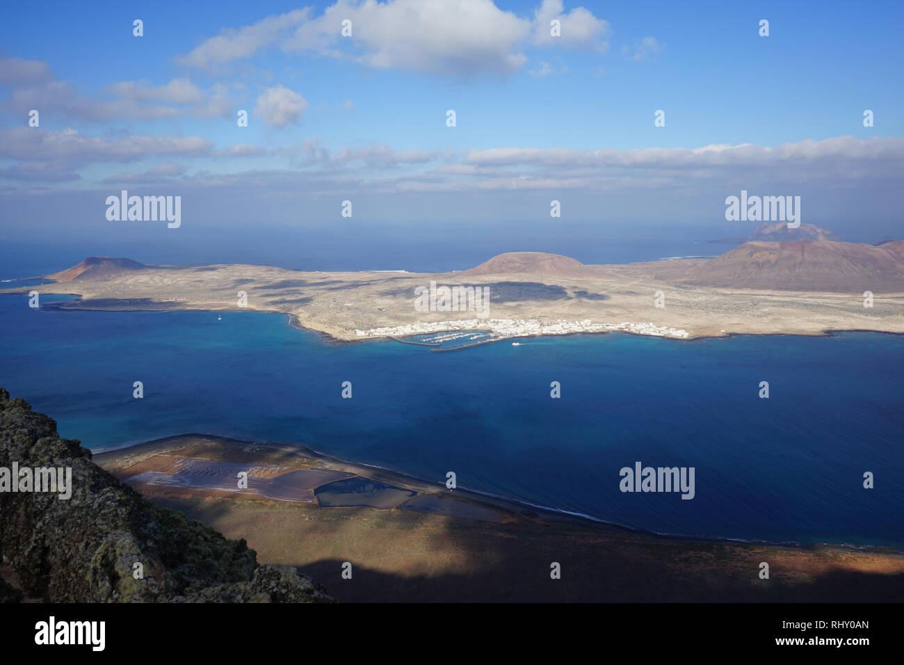 Oberste Aussichtsplattform, Mirador del Río, Lanzarote, Kanarische Inseln, Spanien Stockbild