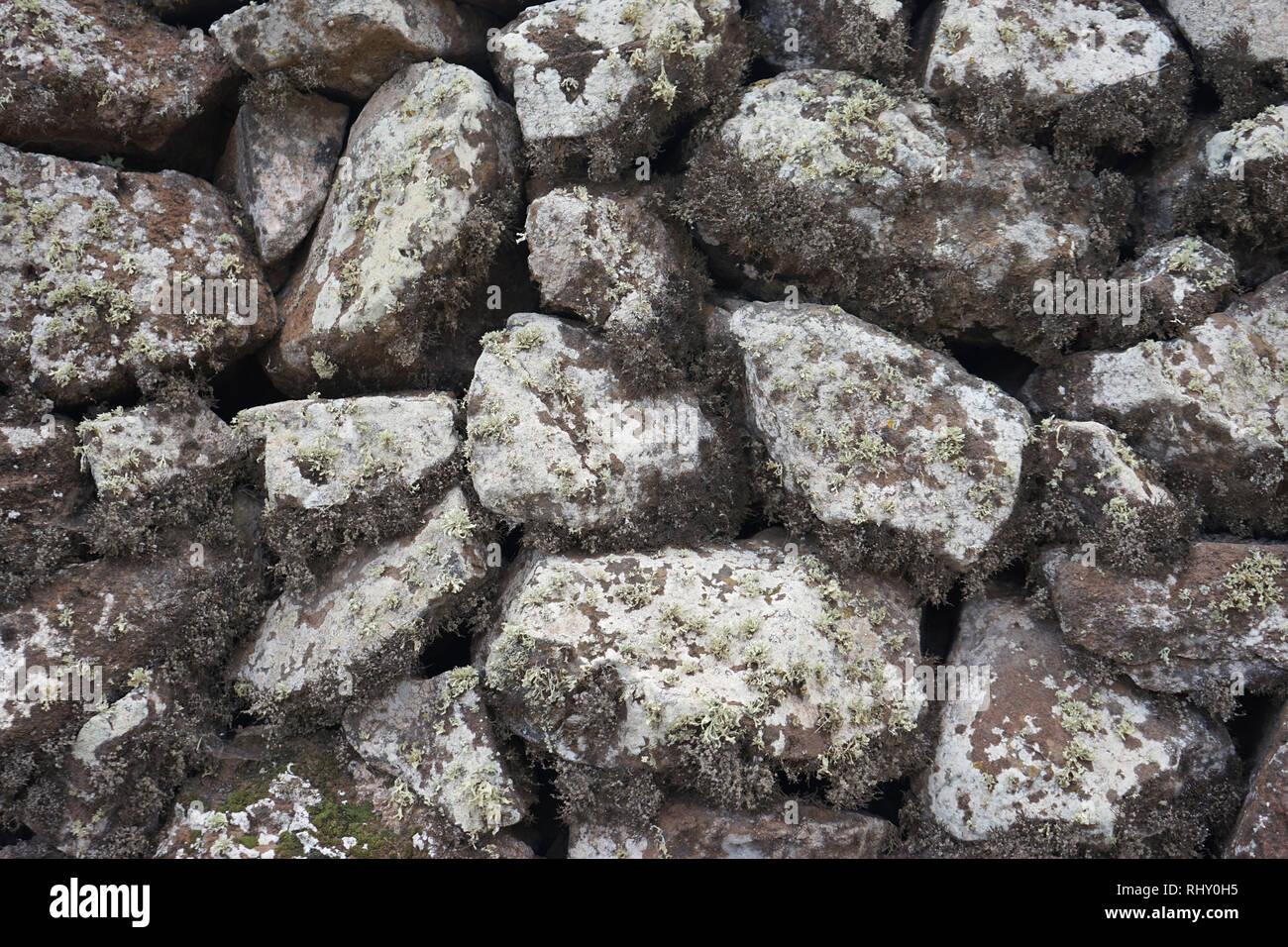 Trockenbaumauer, vulkanische Steine, mit Flechten bewachsen, Lanzarote, Kanarische Inseln, Spanien Stockbild