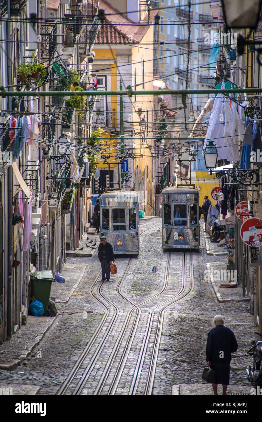 Die öffentlichen Verkehrsmittel in Lissabon Stockfoto