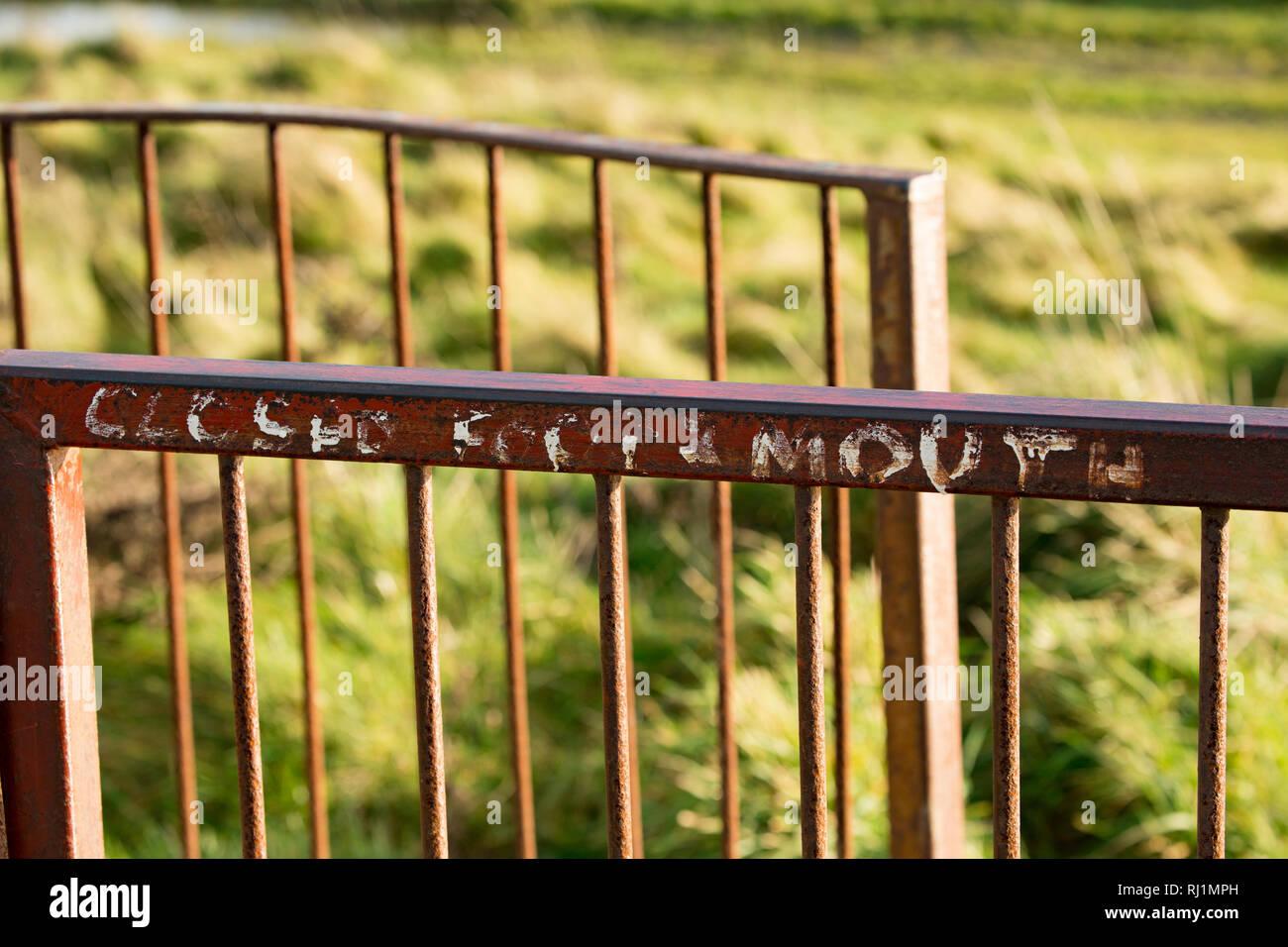 Alte Farbe noch auf ein Tor und sprach 'geschlossenen Maul- & Klauenseuche', die für die Maul- und Klauenseuche im Vereinigten Königreich im Jahr 2001 bezieht sich sichtbar. Über sechs Millionen farm Ani Stockbild