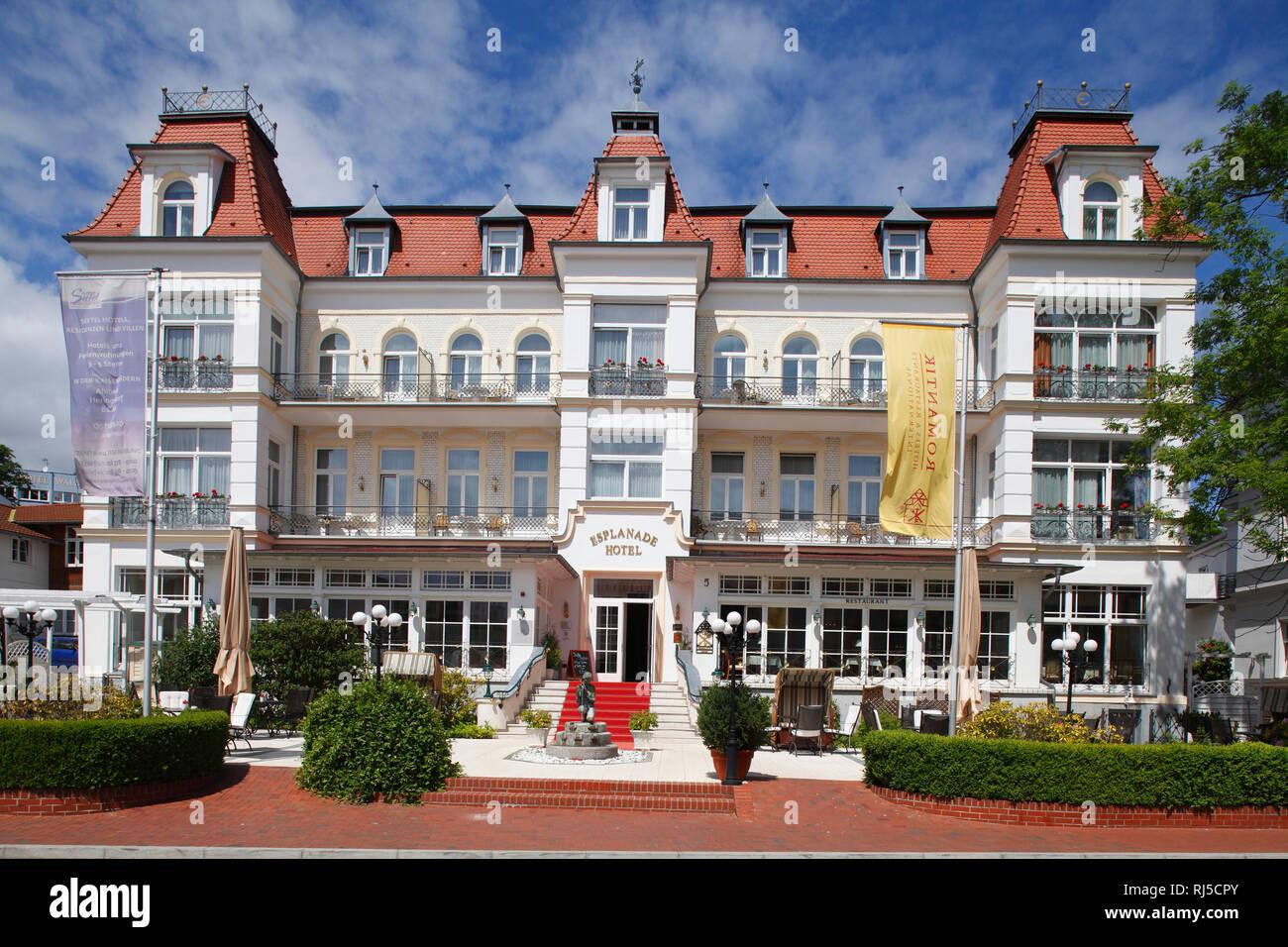 Romantik Hotel Esplanade, Bäderarchitektur, Heringsdorf, Insel Usedom, Mecklenburg-Vorpommern, Deutschland, Europa Stockbild