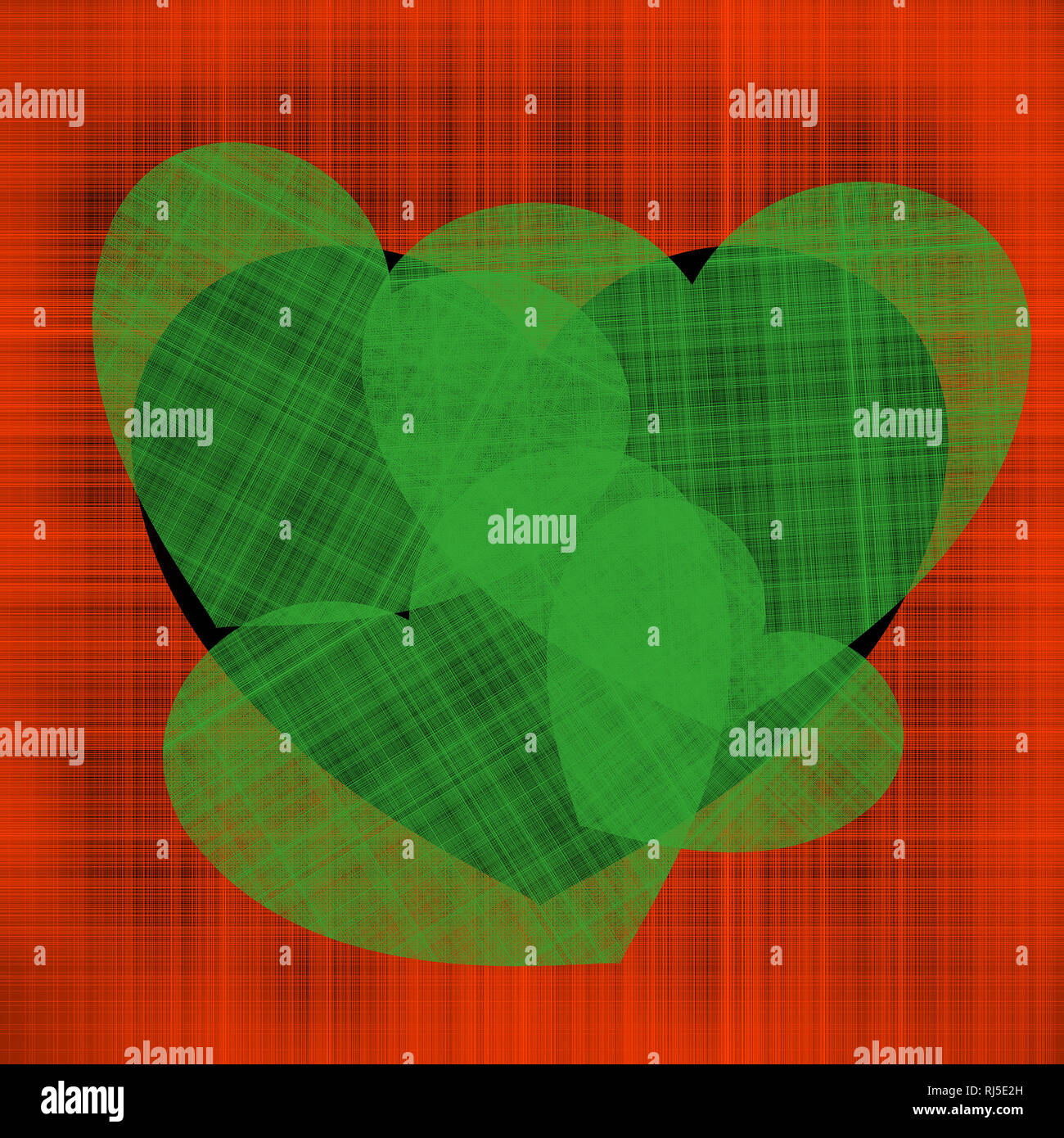 Kontrast Abbildung für den Valentinstag viele grüne Herzen verschiedener Größen auf einem schwarzen Herzen auf einem Hintergrund von Roten verschlungenen Fäden Stockbild