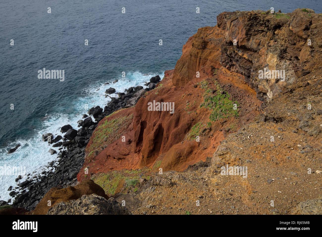 Portugal, Madeira, vulkanisch, Felsen, Küste, Meer Stockbild