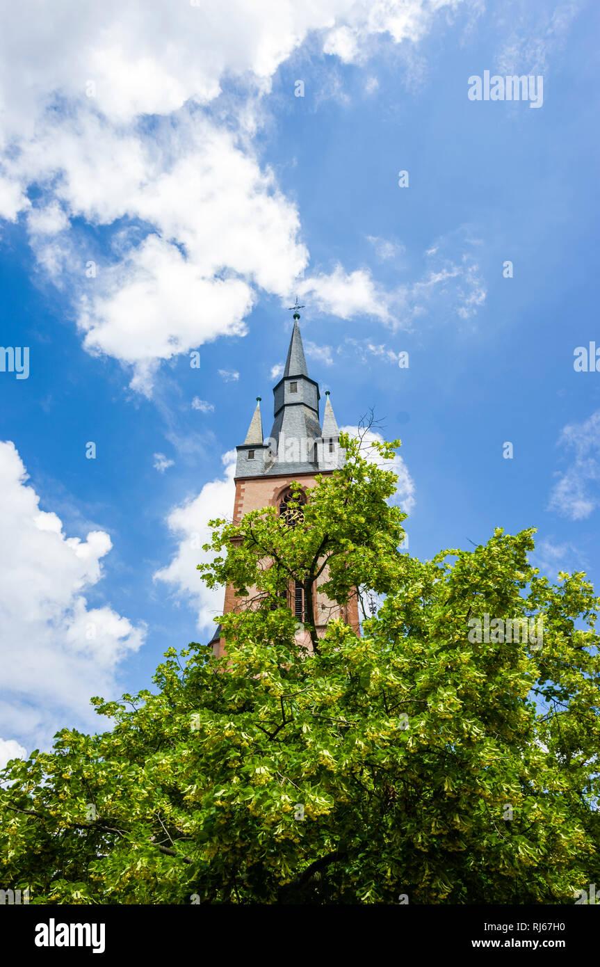 Deutschland, Hessen, Rheingau, Kiedrich, Kirche, St. Valentin, Kirchturm, 15. Jahrhundert Stockbild