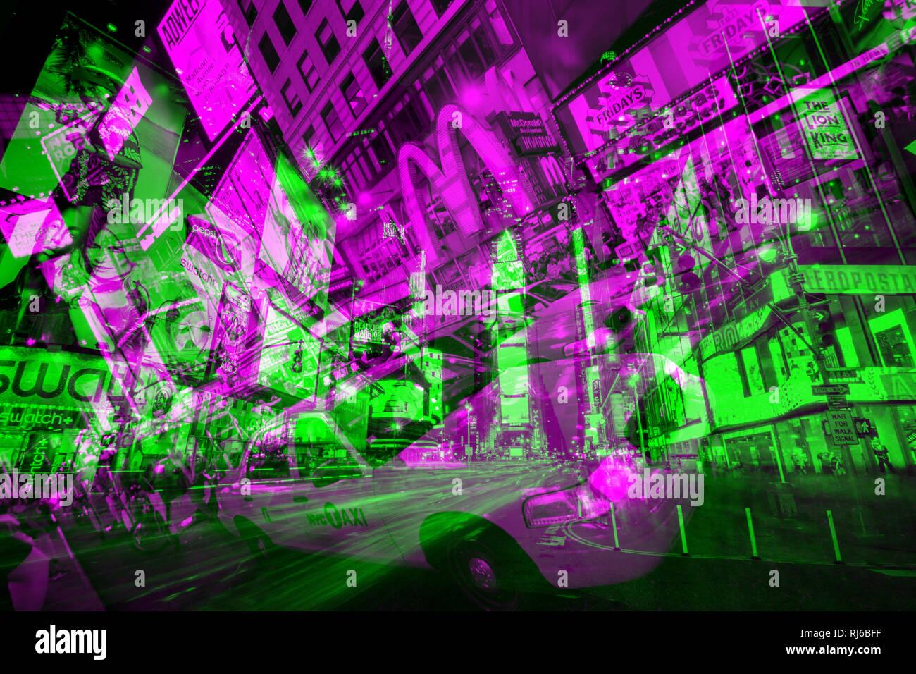 New York, Abstrakt:, Doppelbelichtung, Hochhäuser und Times Square, Stockbild