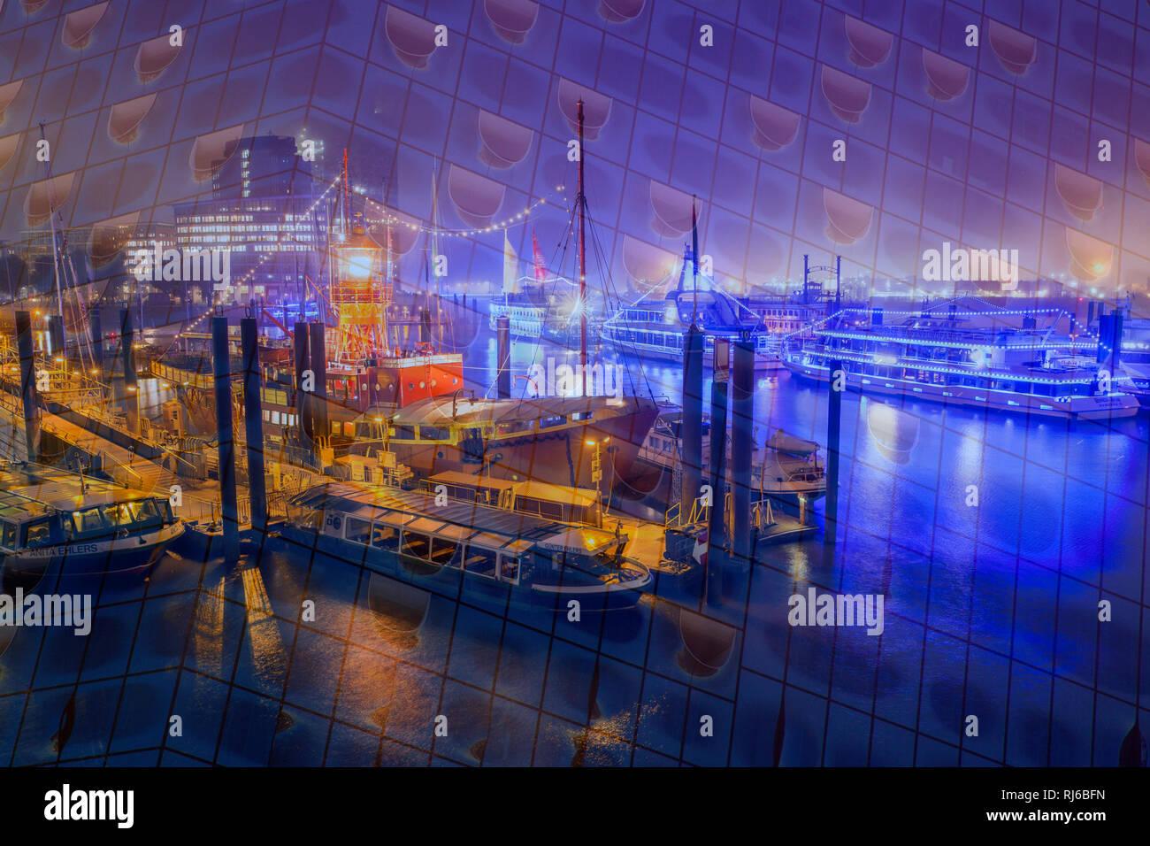 Hamburg, Abstrakt, Doppelbelichtung, Elbphilharmonie und Hafen Stockbild