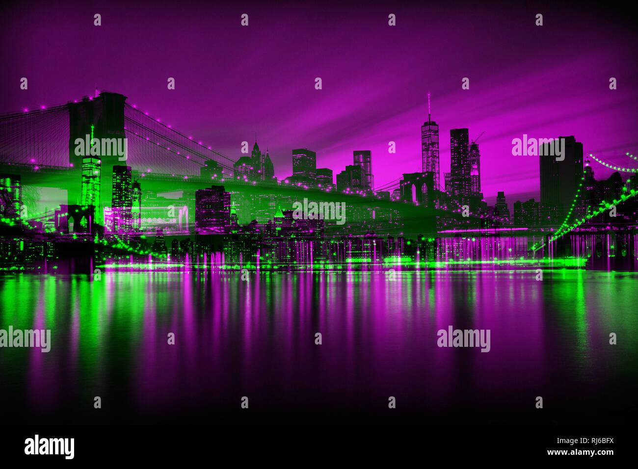 New York, Abstrakt, Doppelbelichtung, Skyline und Brooklyn Bridge Stockbild
