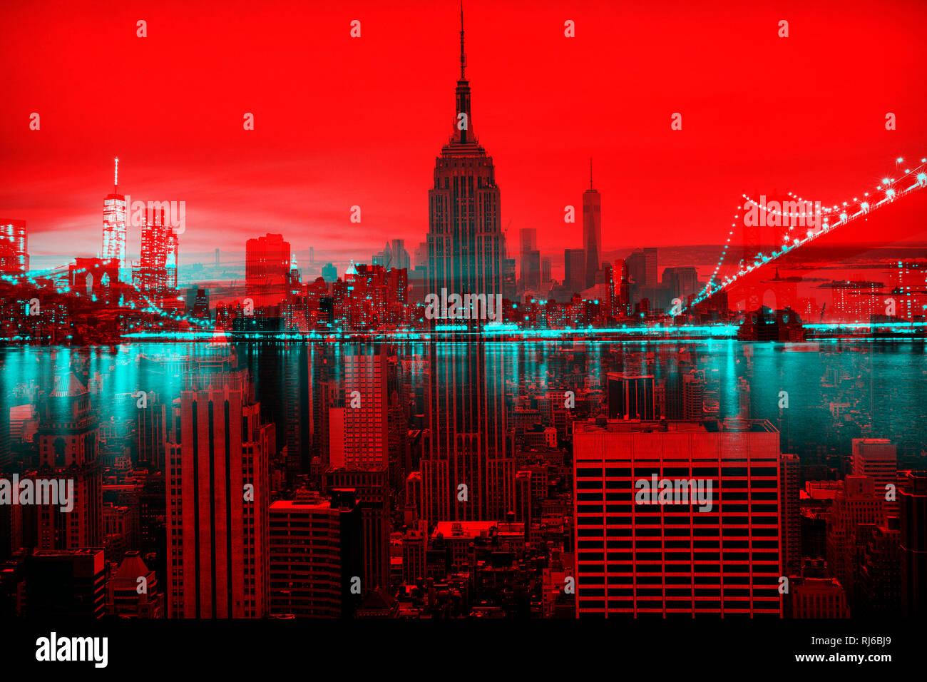 New York, Abstrakt, Doppelbelichtung, Skyline und Empire State Building Stockbild