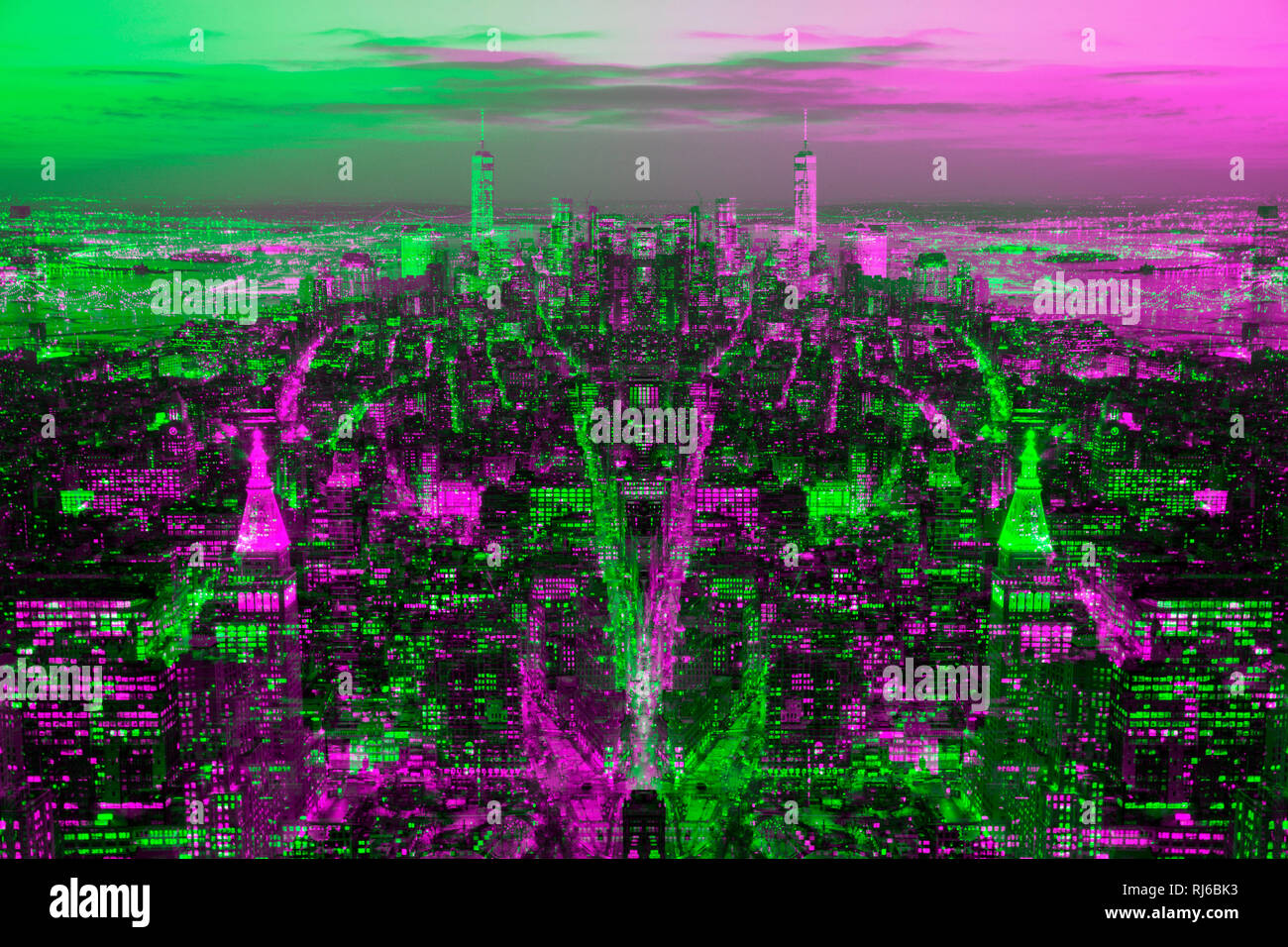 New York, Abstrakt, Doppelbelichtung, Skyline Stockbild