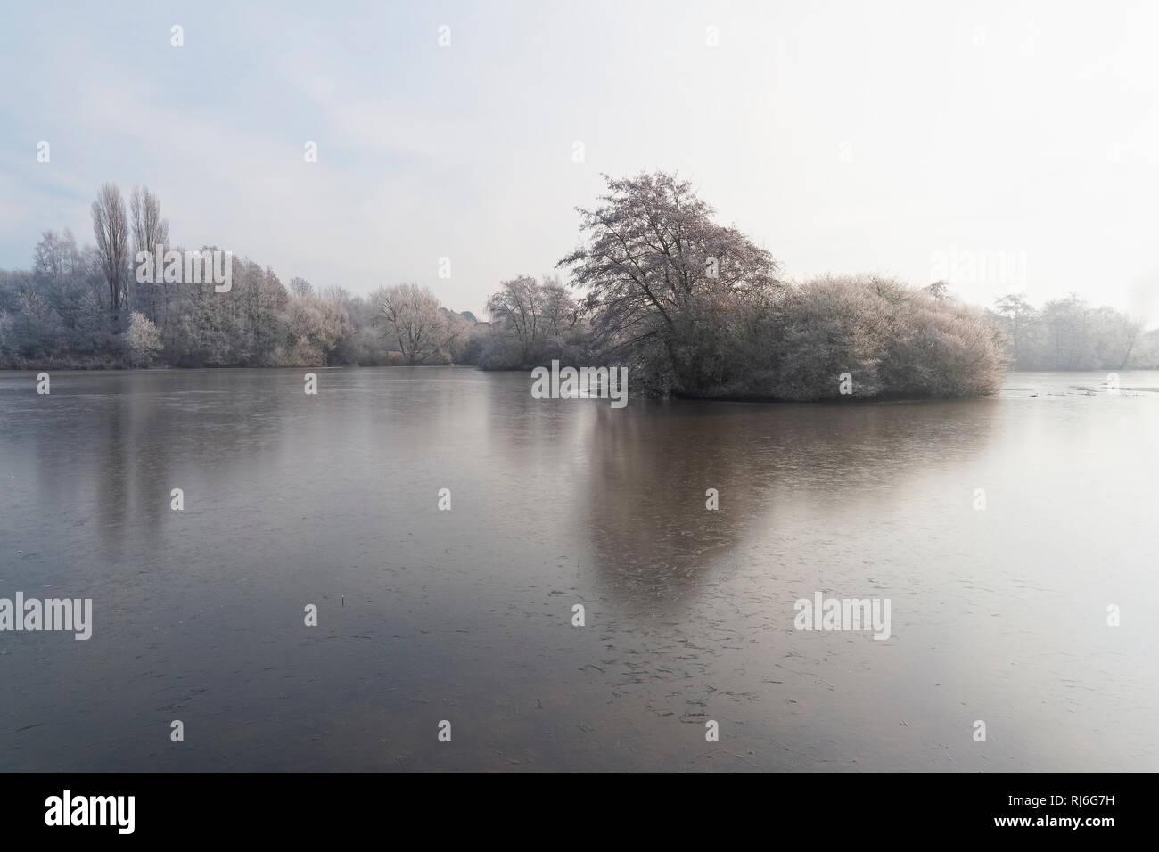 Über einen kleinen zugefrorenen See an einem kalten, nebligen Morgen, zu einer kleinen Insel von Frost bedeckt Bäume und Sträucher Stockbild