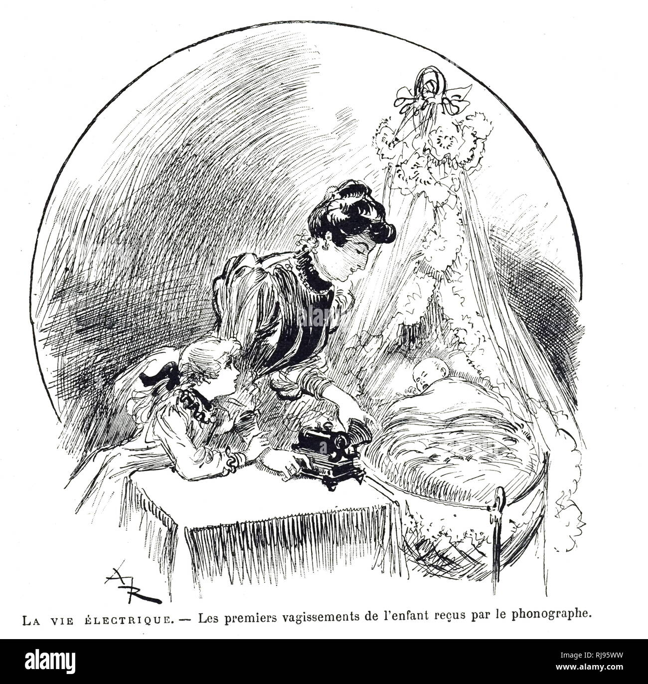 Eine Gravur, eine Mutter die Aufnahme des Kindes für die Familie Archive. Vom 19. Jahrhundert Stockbild