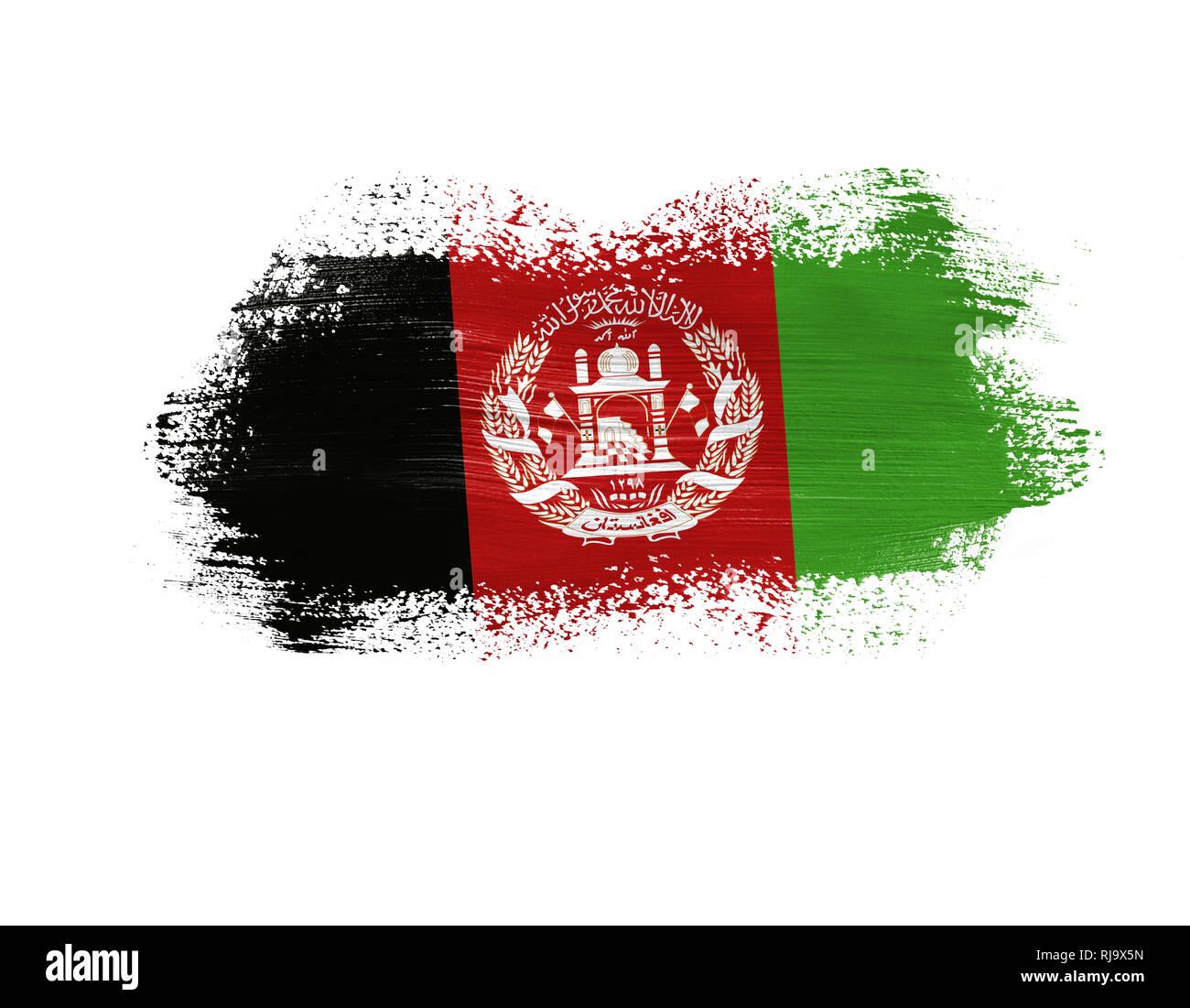 Gemalt Flagge Afghanistan Auf Weissem Hintergrund Stockfoto Bild