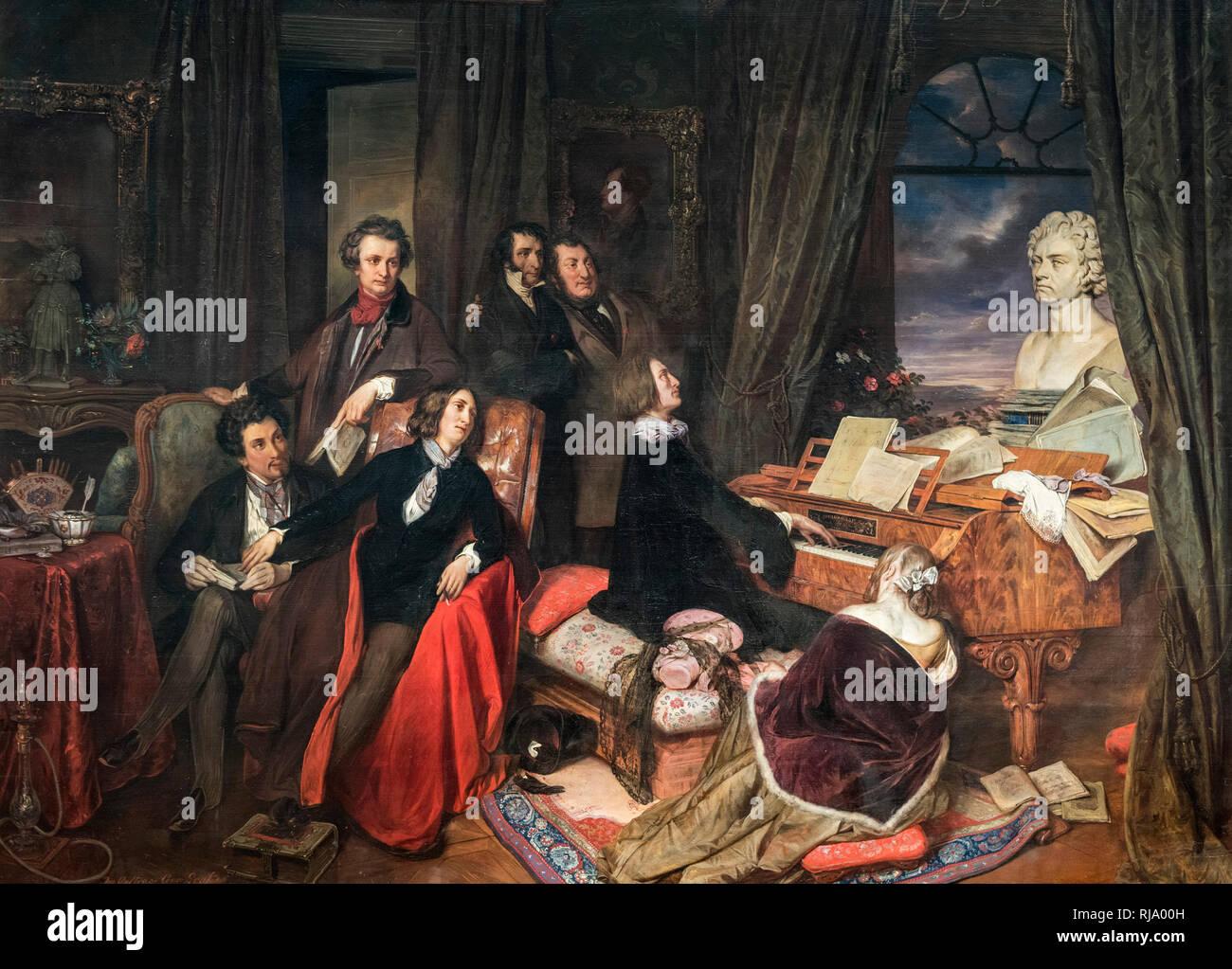 Josef Danhauser (1805-1845), Liszt am Klavier, 1840. Liszt am Flügel. Alte Nationalgalerie, Berlin. Von der Wiener Klavierbauer Conr beauftragt Stockbild