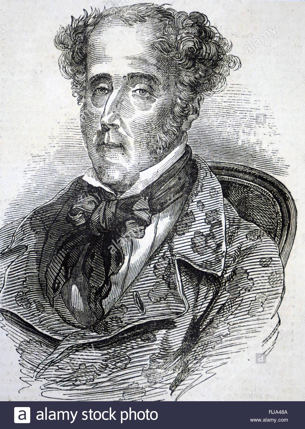 Portrait von François-René de Chateaubriand (1768-1848), ein französischer Schriftsteller, Politiker, Diplomat und Historiker, der Gründer der Romantik in der französischen Literatur betrachtet wird. Vom 19. Jahrhundert Stockbild