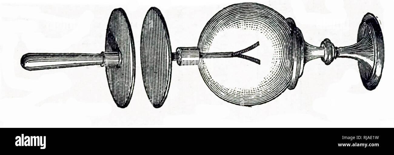 Abbildung: Darstellung von Alessandro Volta's Version von dem Elektroskop; eine frühe wissenschaftliche Instrument, das verwendet wird, um das Vorhandensein und das Ausmaß der elektrischen Ladung, die auf einen Körper zu erkennen. Es war die erste elektrische Messgerät. Die erste Elektroskop, einem drehbaren Nadel die versorium genannt, wurde von dem britischen Arzt William Gilbert um 1600 erfand Stockbild