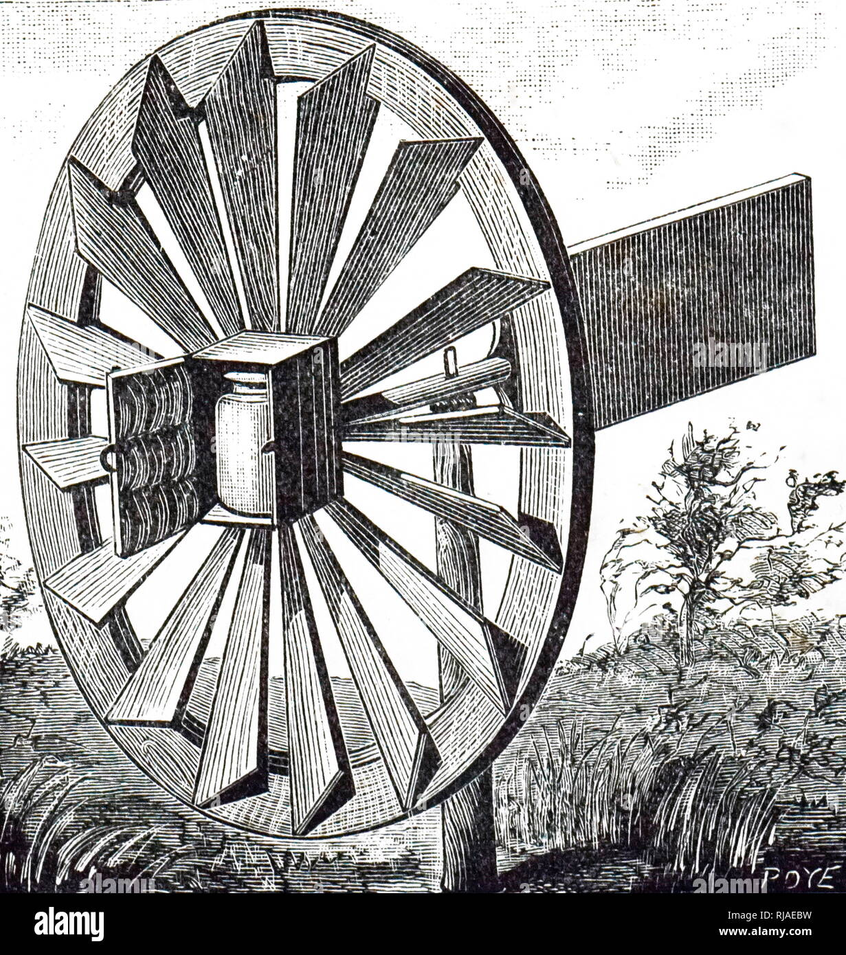 19 Abbildung eines Windkraftanlagen Butterfass; 1893 Stockbild