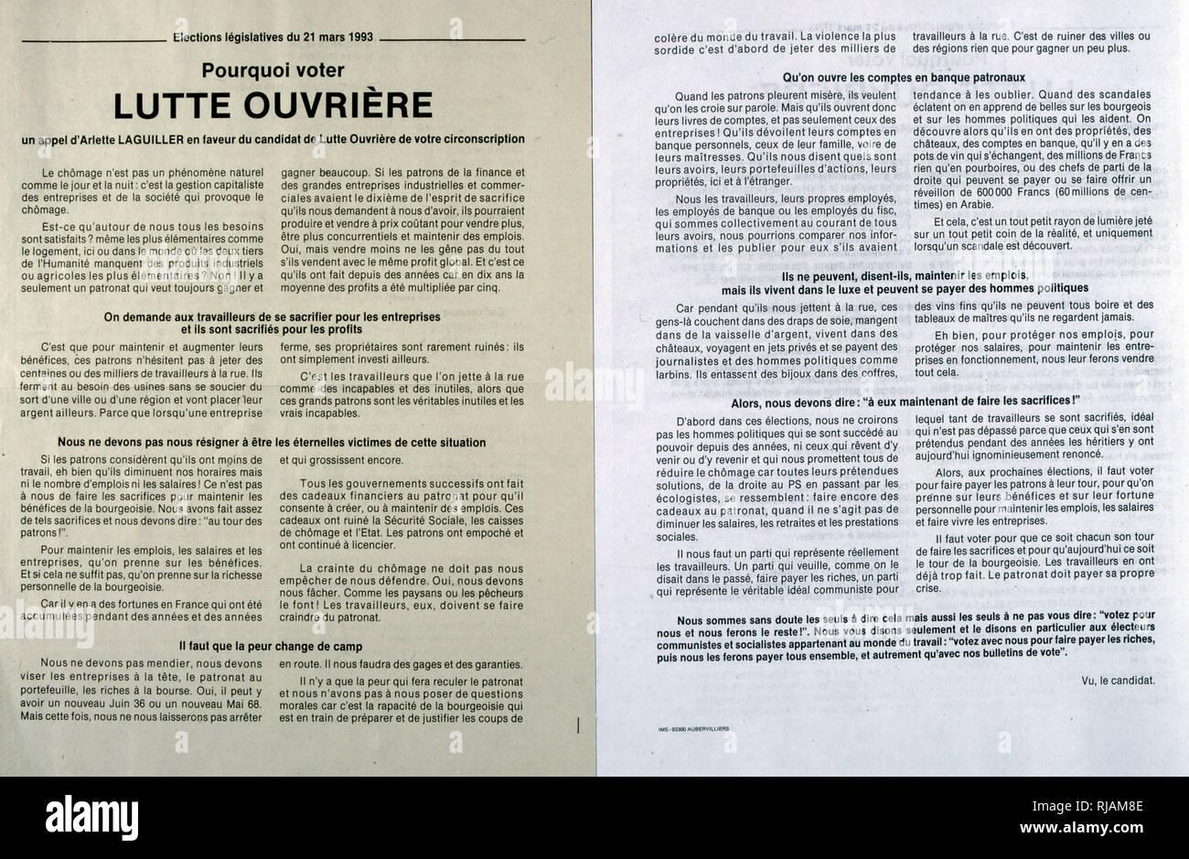 Wahlplakat für Kandidaten, Arlette Laguiller (Arbeiterkampf), für die Französische Nationalversammlung 1993 Stockfoto