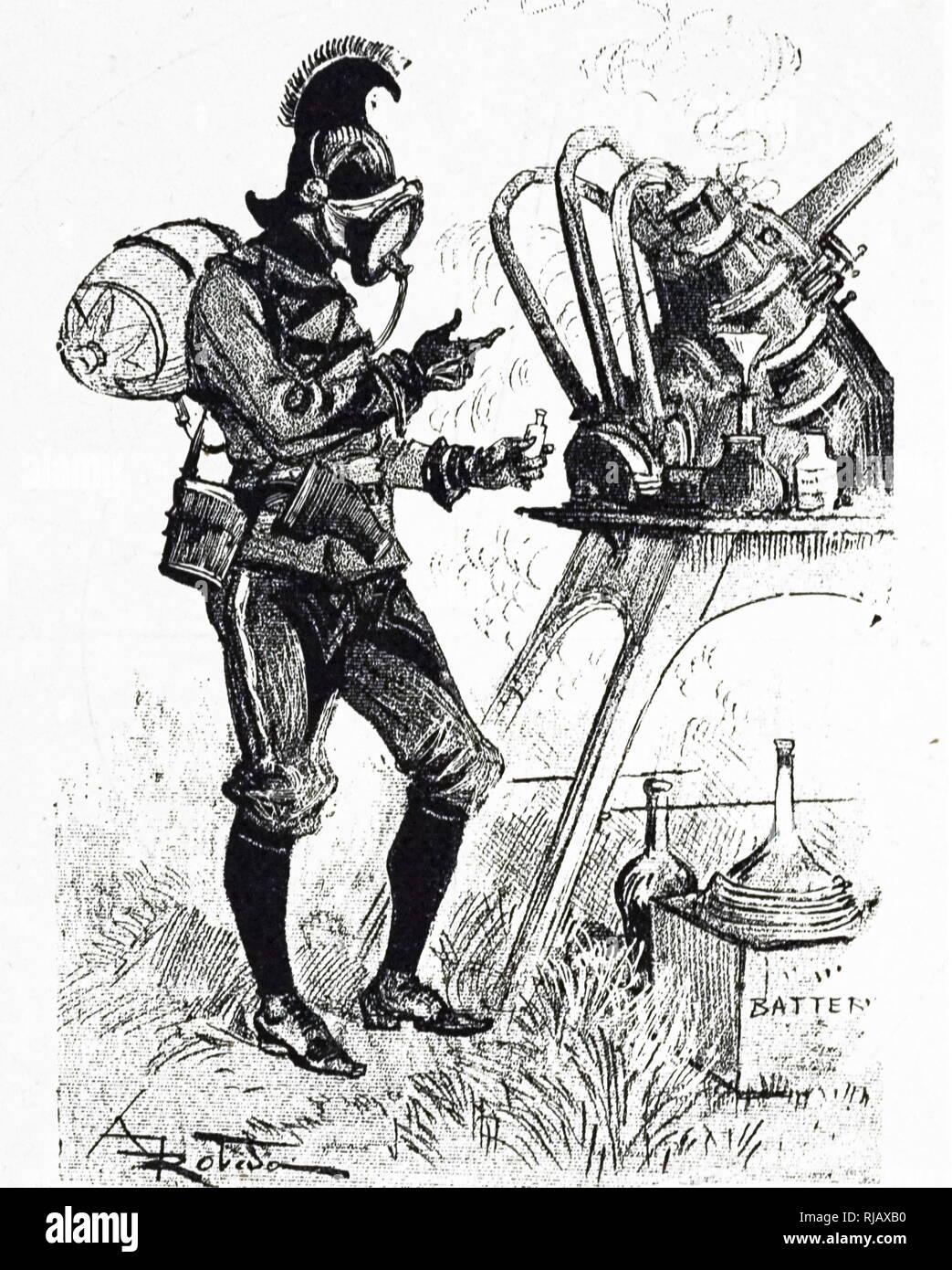 Eine Gravur, die Idee eines Autors, der Kriegsführung Corps in den 1950er Jahren: ein Leutnant in der chemischen Kriegsführung corps. Vom 19. Jahrhundert Stockbild