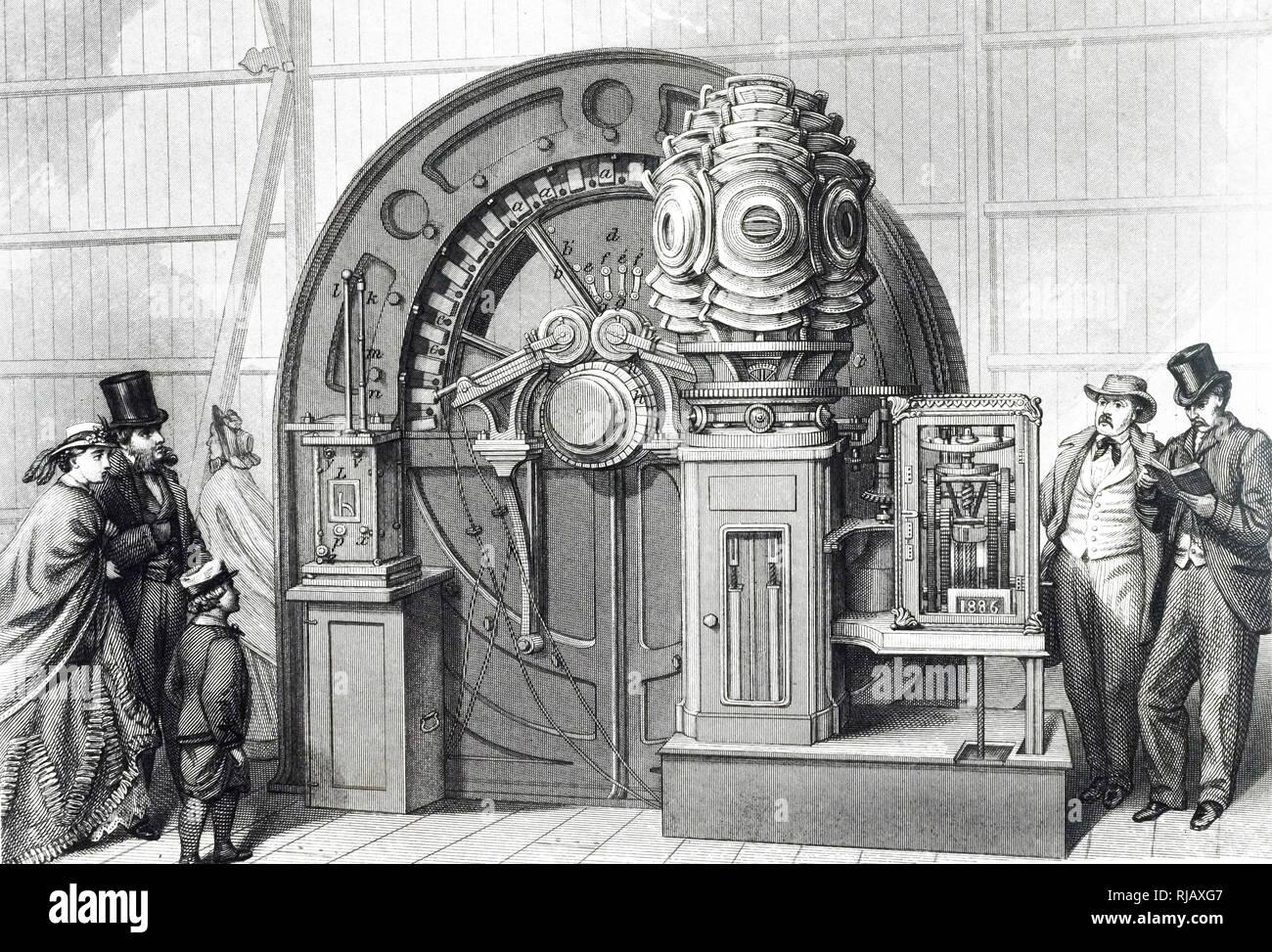 Ein kupferstich mit der Darstellung der magneto-elektrischen Generator - Stromversorgung ein Leuchtturm Licht auf der Internationalen Ausstellung in London. Vom 19. Jahrhundert Stockbild