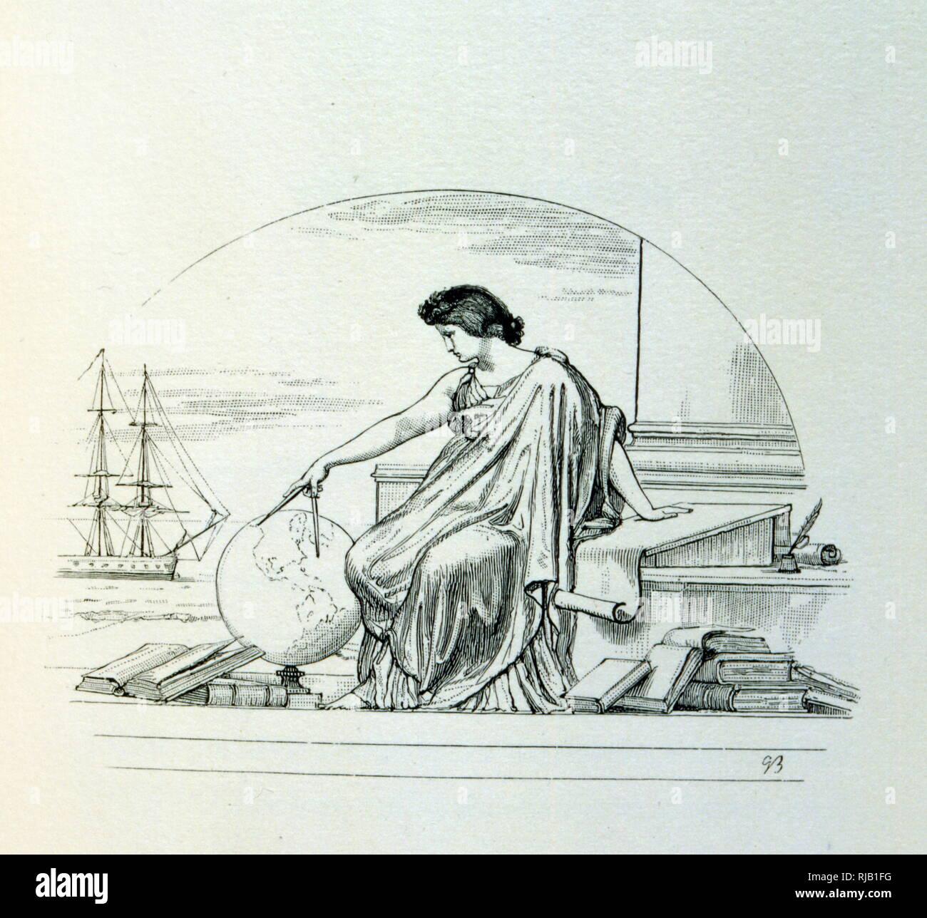 """Illustration von G. Bellenger, für 'Les Destinees"""" eine Sammlung von Gedichten von Alfred Victor, Comte de Vigny (1797 - 1863); französischer Dichter und früher Führer der französischen Romantik. Stockbild"""