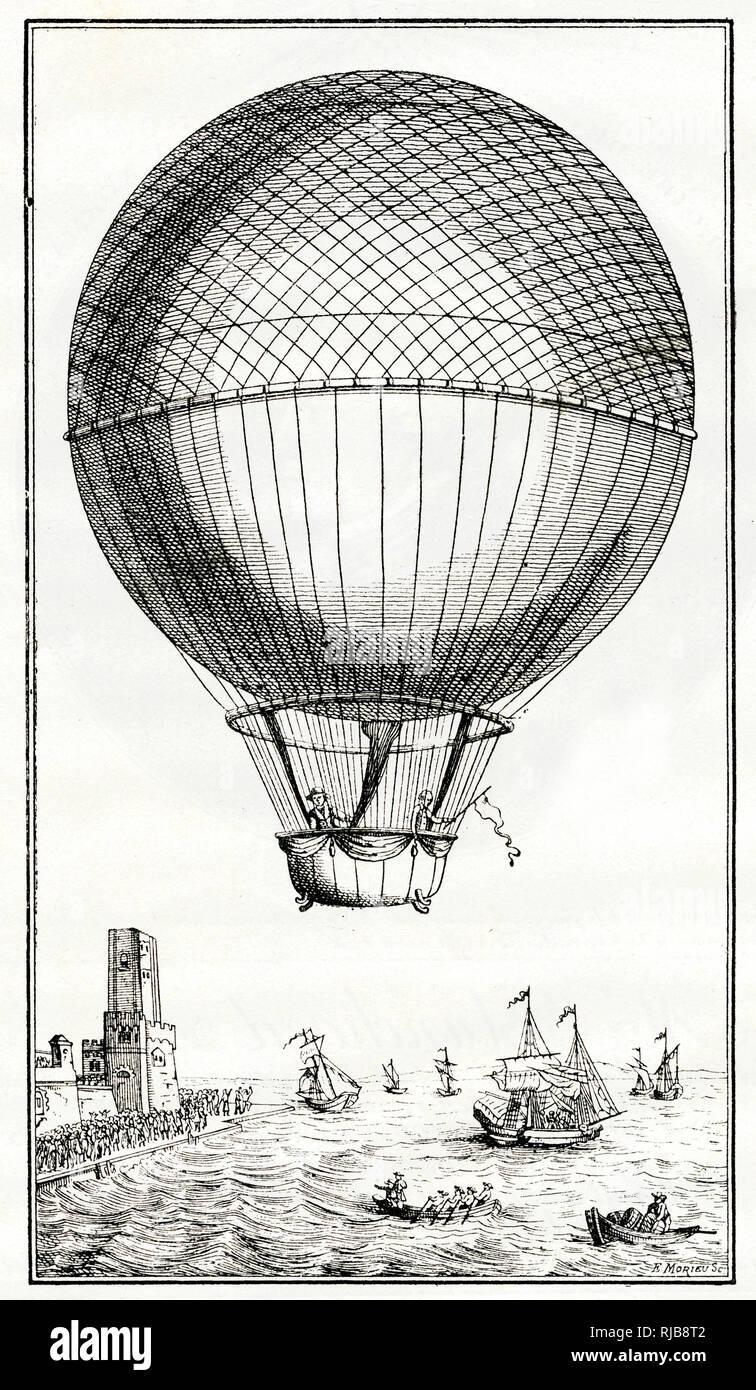 Blanchard und Jeffries Überquerung des Ärmelkanals in einem Ballon, dem 7. Januar 1785 - - 100. Jahrestag gedenken. Stockfoto