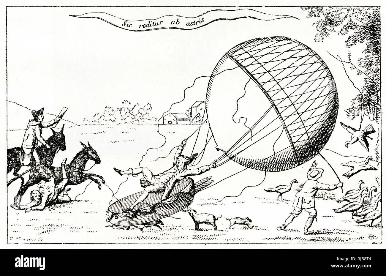 Satirische Karikatur, Blanchard die Ballonfahrer Landung in einem Feld, wodurch Unterbrechungen für Menschen und Tiere. Stockfoto