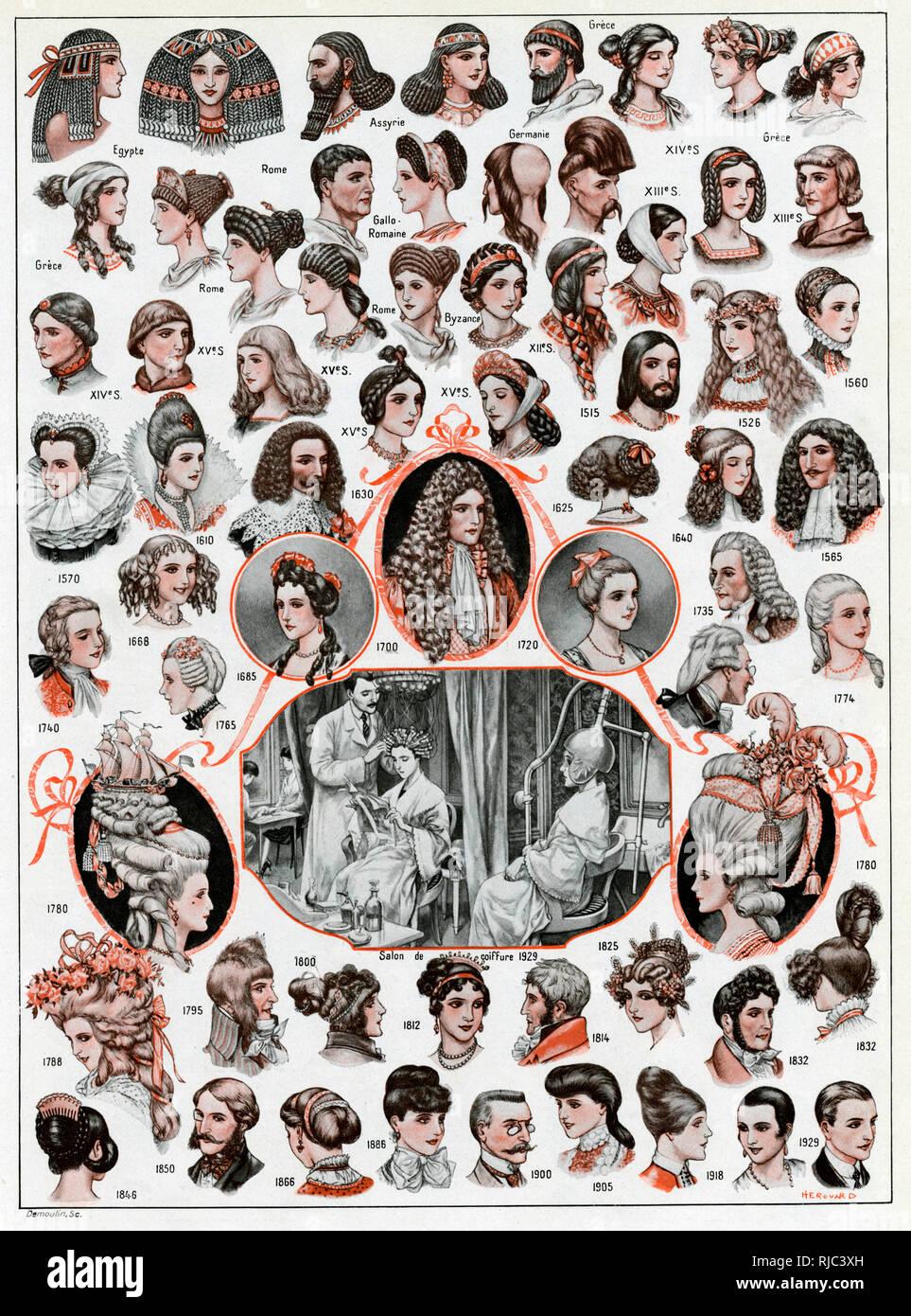 Eine Seite Mit Verschiedenen Frauen Und Frisuren Für Männer